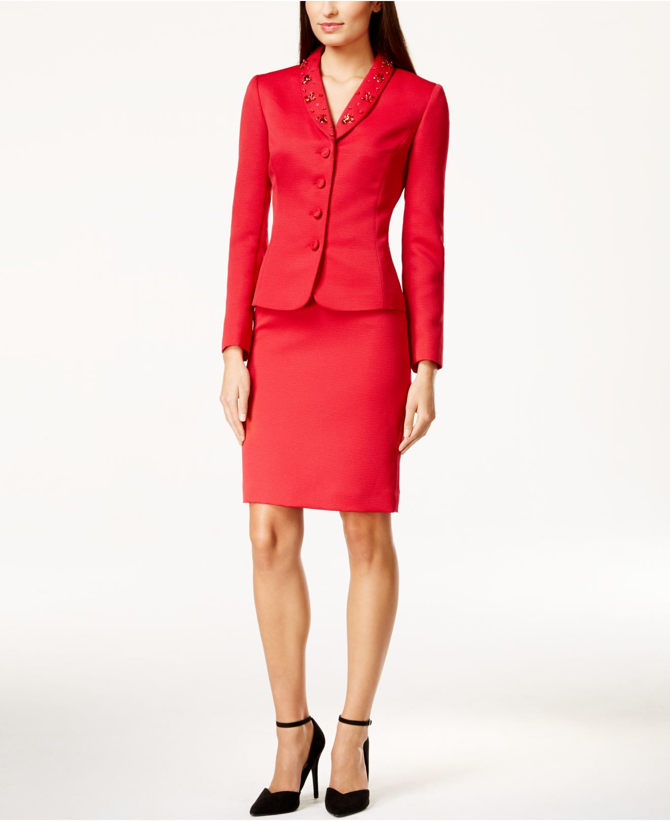 Explore the many Red Suit options, including a Women's Red Suit and a Plus Size Red Suit, at Macy's. Red (46) Customer Ratings Clear. 5 stars (3) 4 stars & up (14) 3 stars & up (16) Price OppoSuits One-Button Printed Skirt Suit.