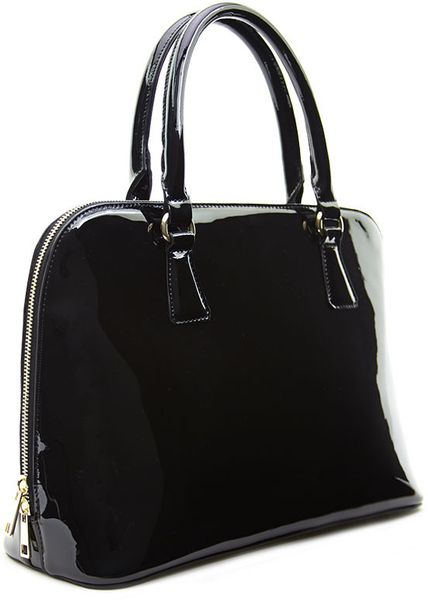 Forever 21 Faux Patent Leather Satchel In Black Lyst