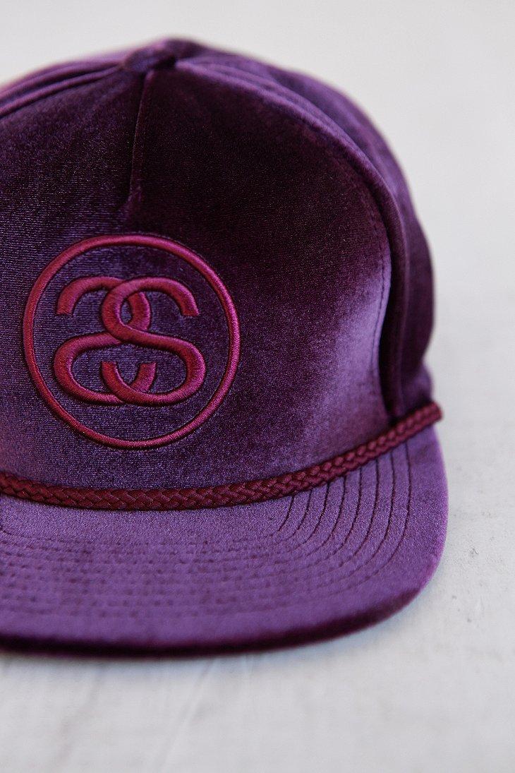 897ce526d4e Stussy Velvet Snapback Hat in Purple for Men - Lyst