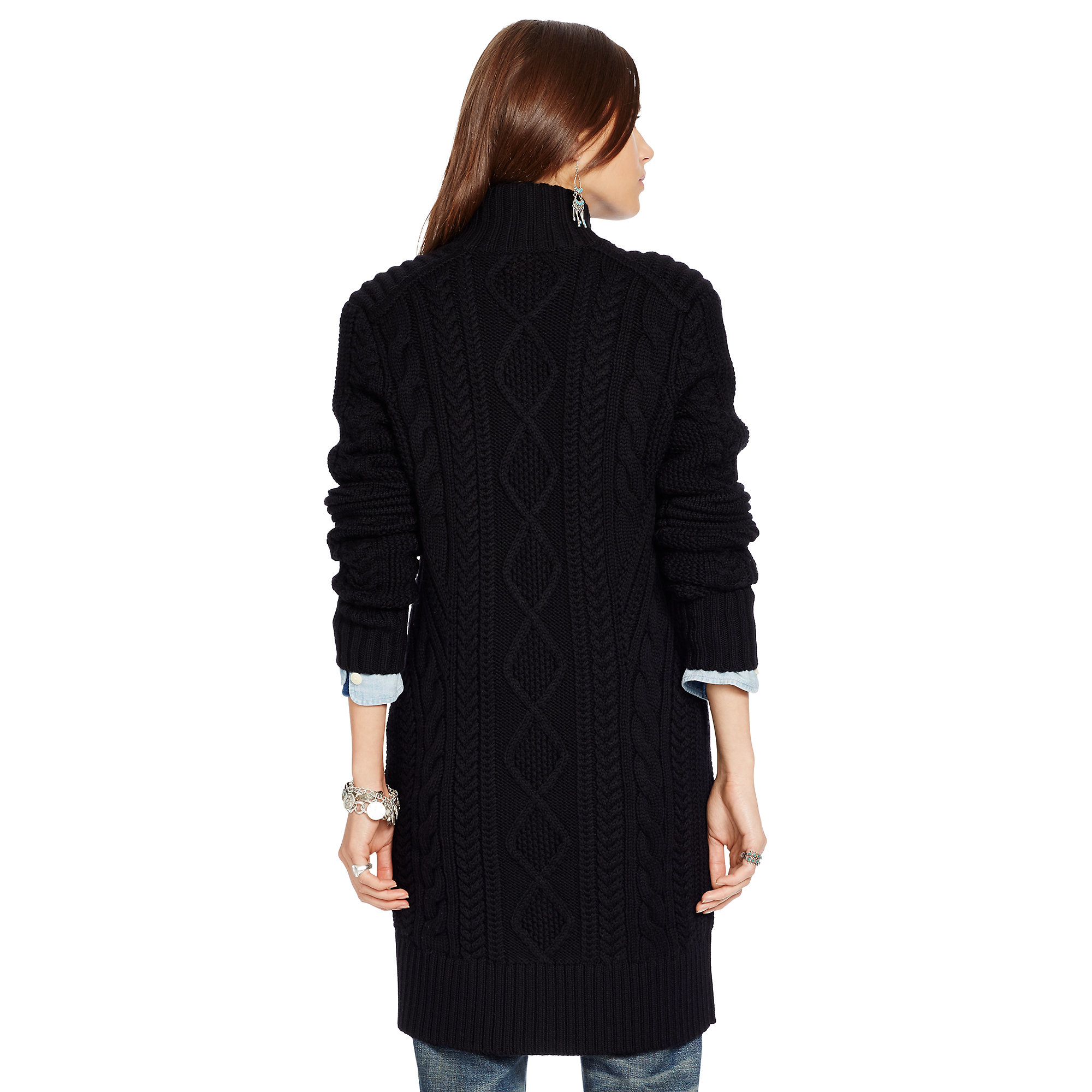 Polo ralph lauren Cabled Merino Wool Cardigan in Black | Lyst