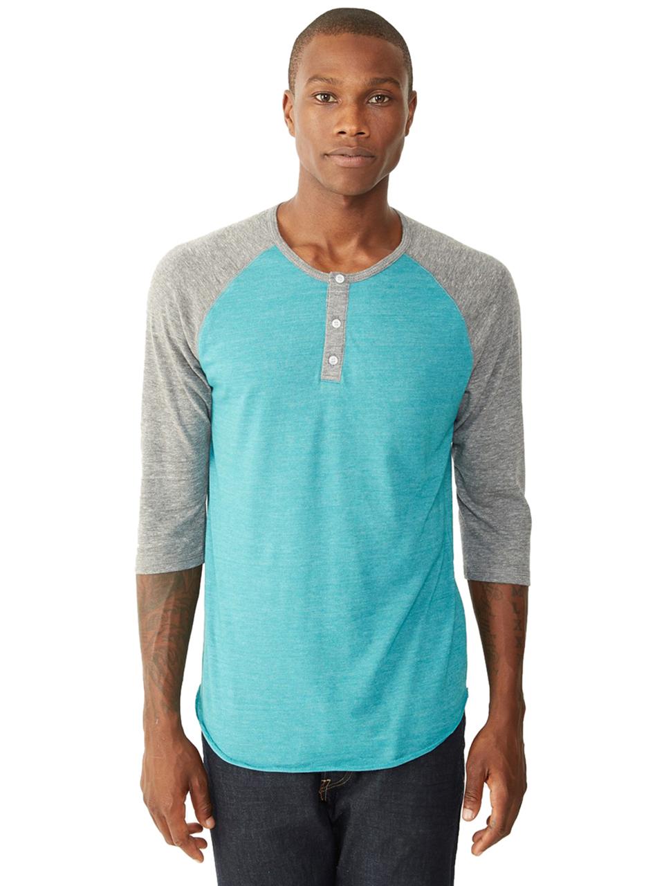 alternative apparel basic eco jersey raglan henley shirt