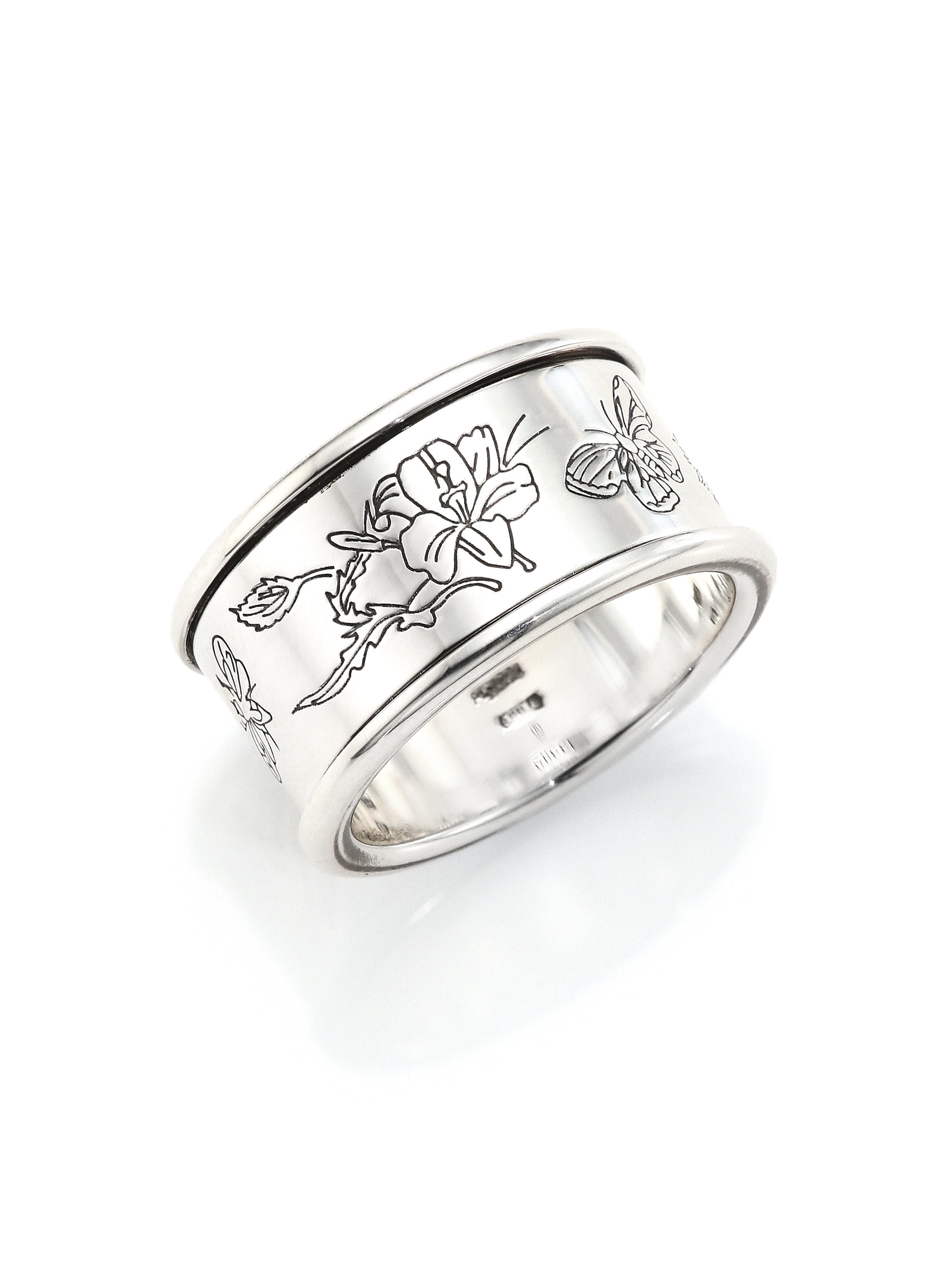 gucci flora sterling silver ring in metallic lyst