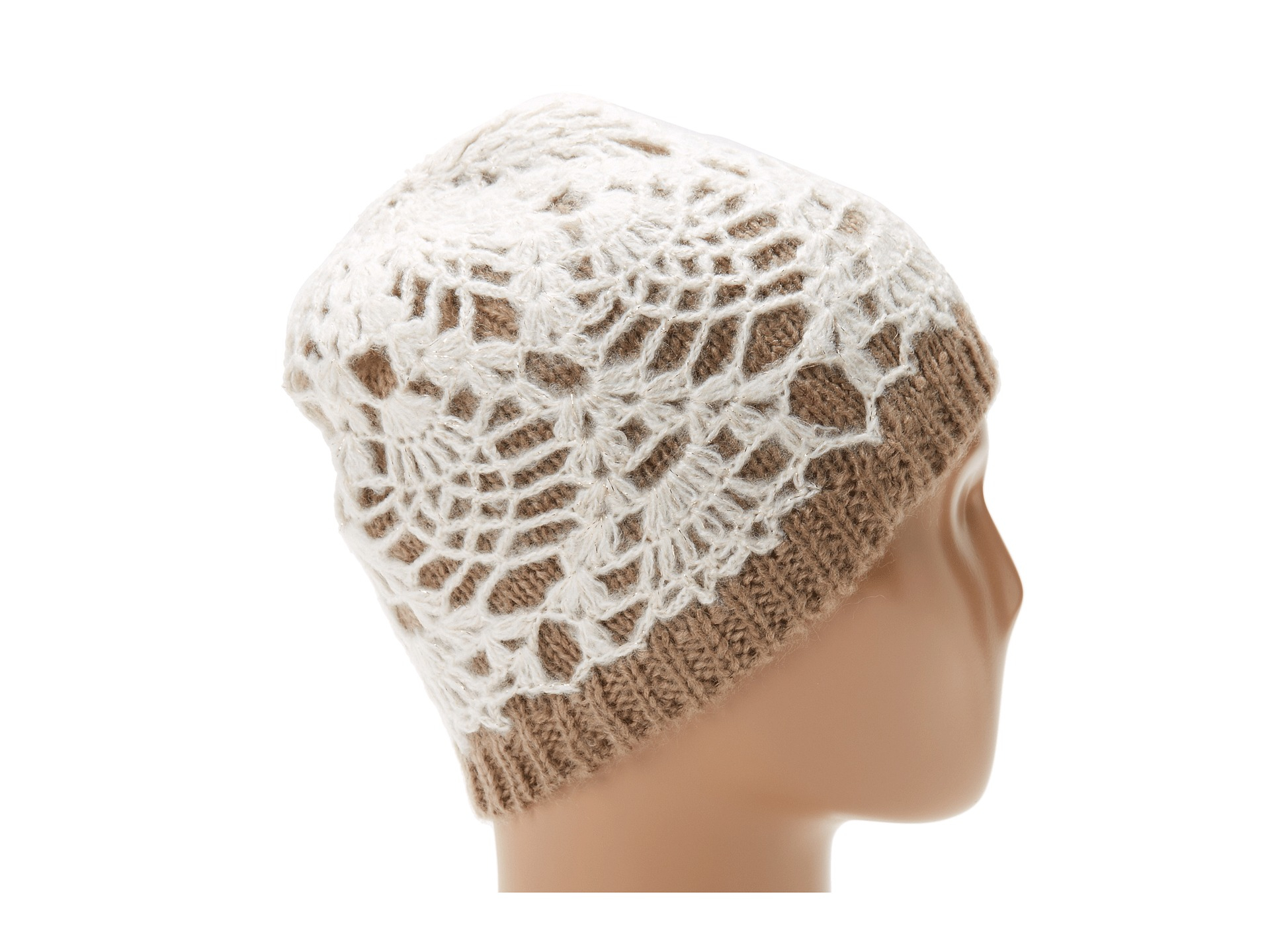 Skull Cap Knitting Pattern : Betsey Johnson White Lacey Knit Skull Cap Lyst