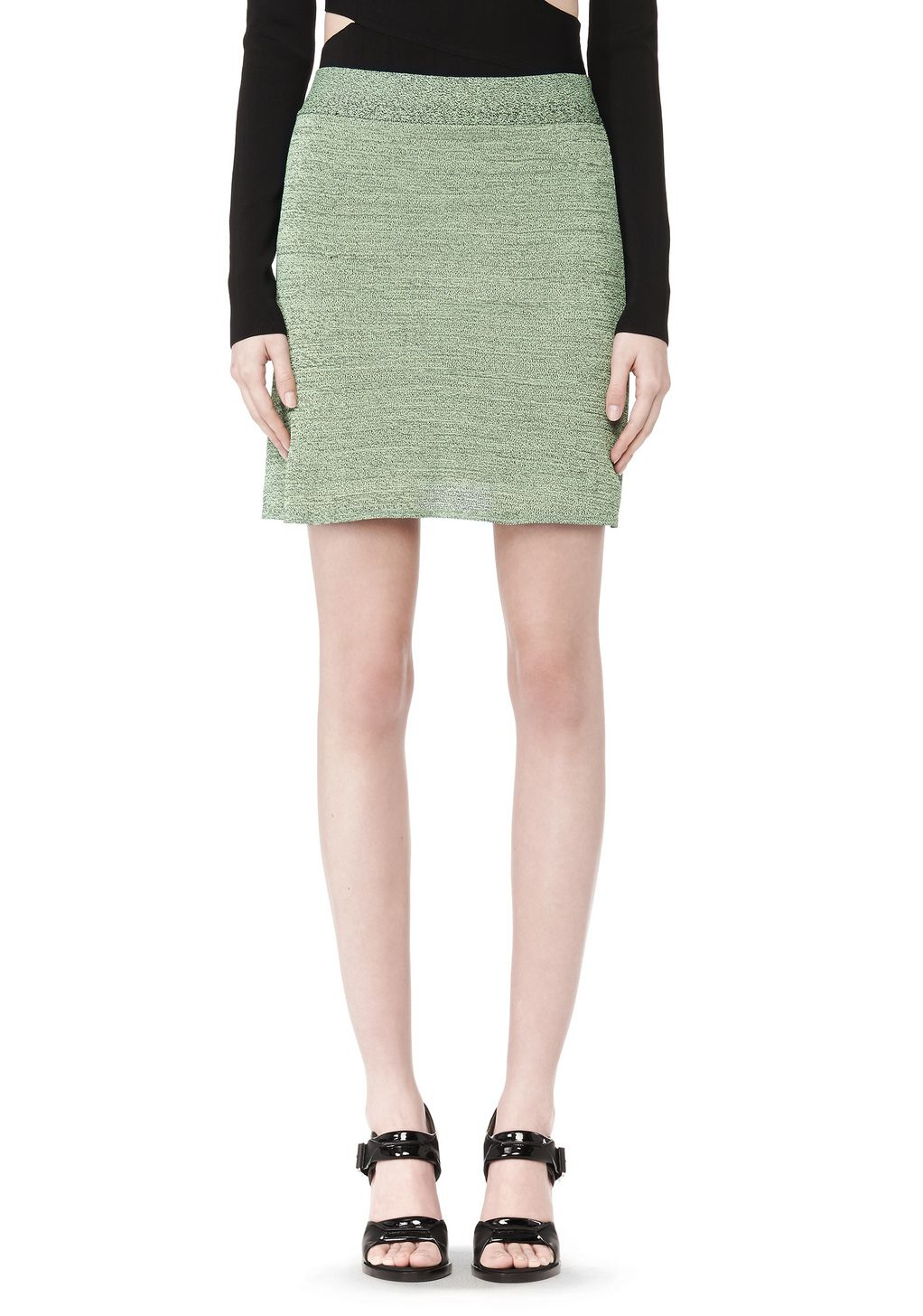 wang stretch rayon knit a line mini skirt in