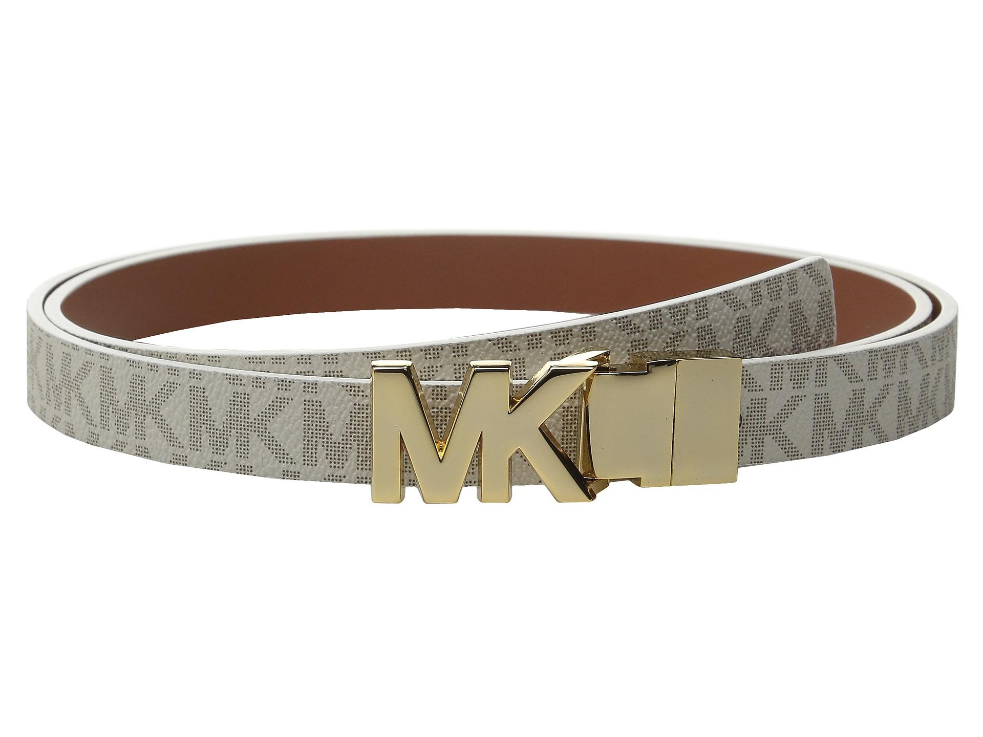 e2e011fcb632 ... shop lyst michael kors 20mm reversible logo pvc to smooth belt 02d46  33b2e