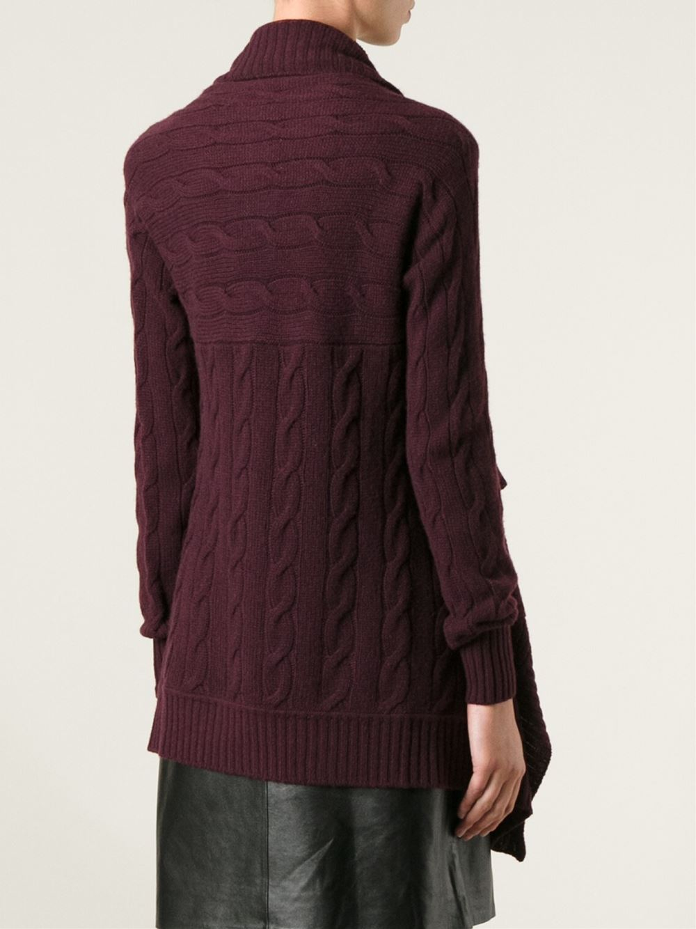 Ralph lauren black label Cable Knit Waterfall Cardigan in Purple ...