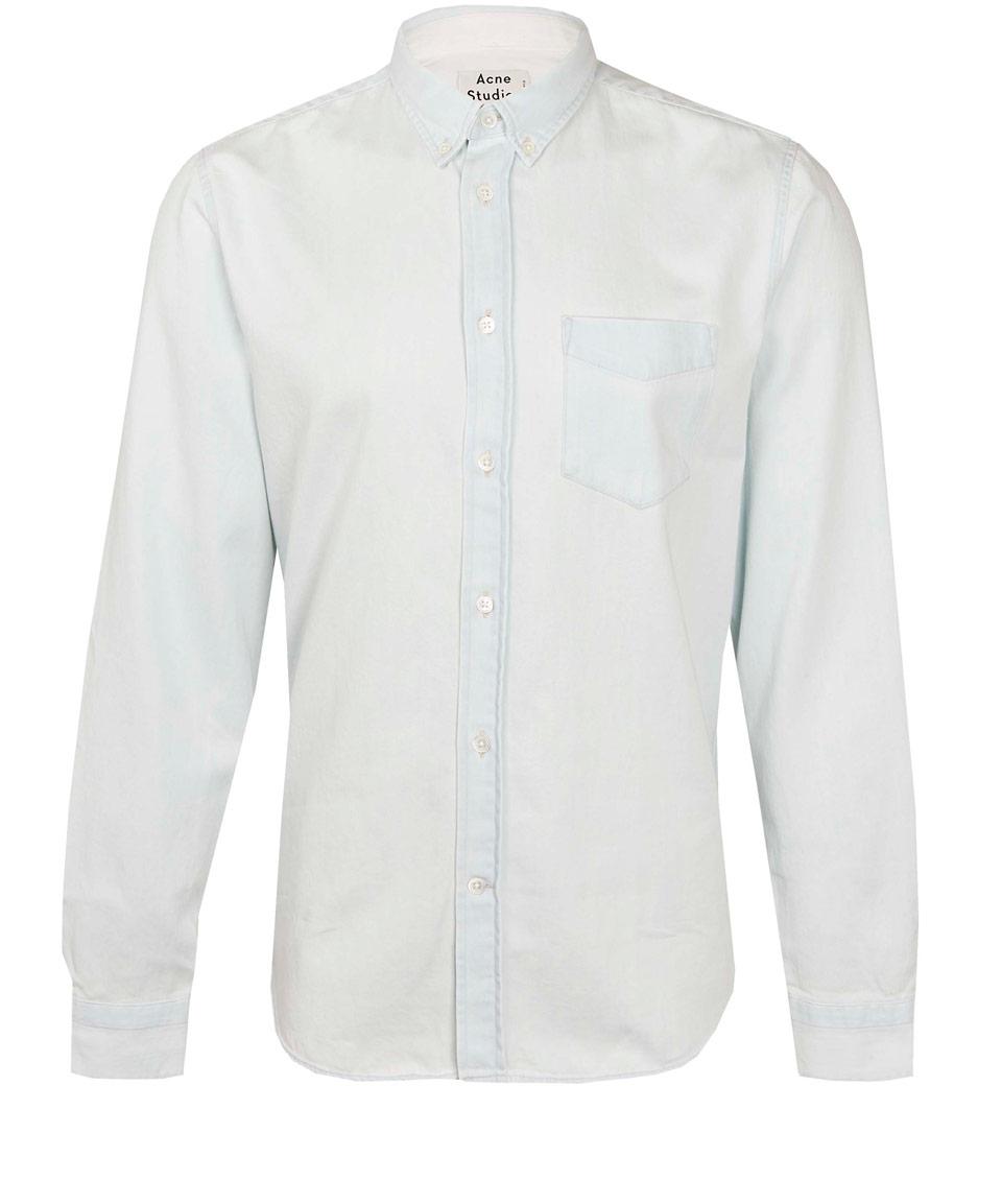 Acne studios Off White Isherwood Button-Down Denim Shirt in White ...