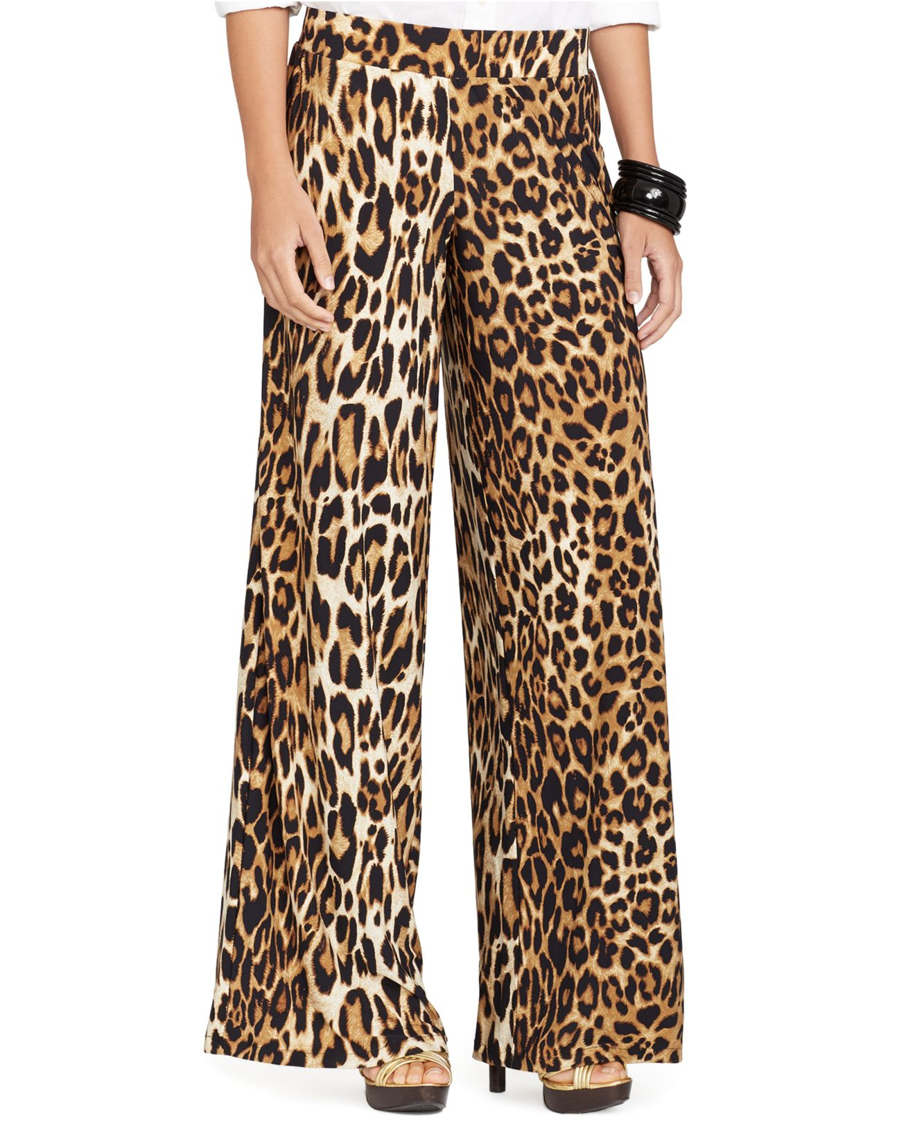 Ralph lauren Leopard-print Wide-leg Pant | Lyst