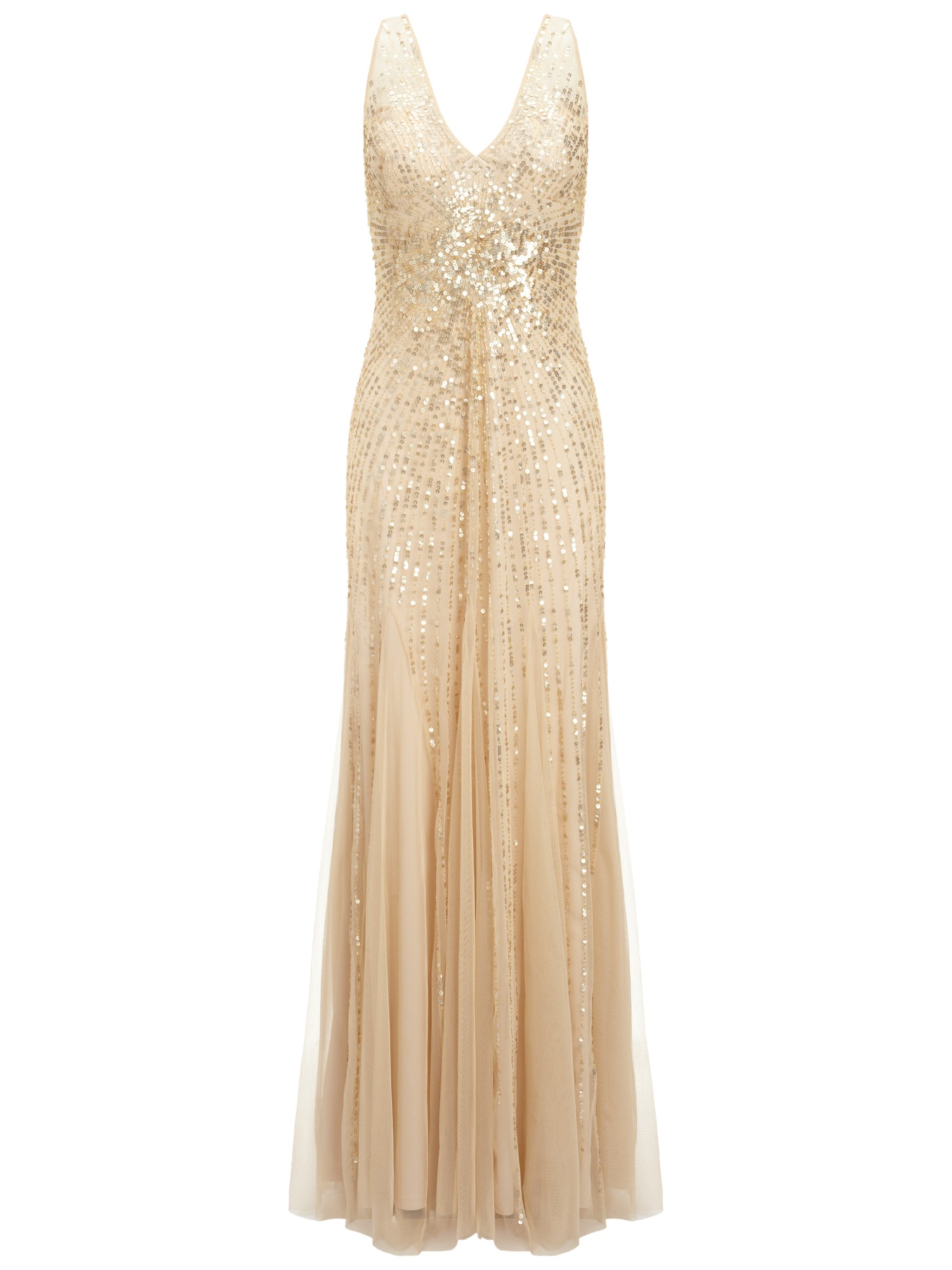 Adrianna papell beaded mesh mermaid gown in metallic lyst for Gold beaded wedding dress