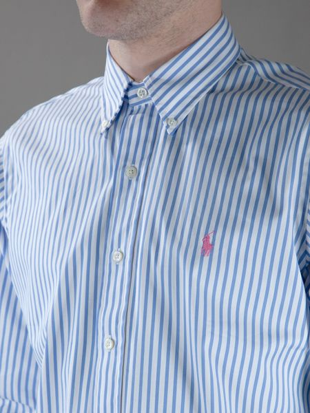 Blue Striped Polo Shirt Striped Shirt in Blue For