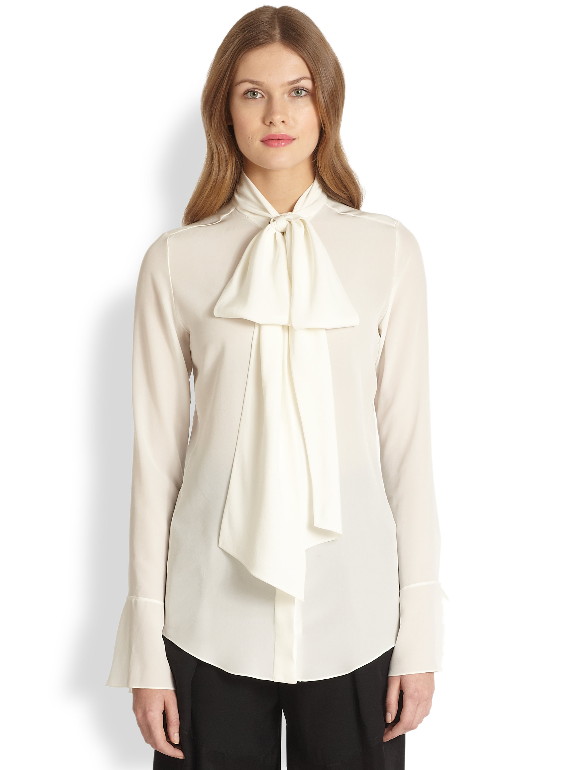 2d3b6a1ccc172 Lyst - Chloé Silk Tie-Neck Blouse in Natural