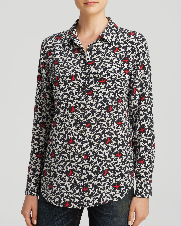 Lyst equipment 39 lyle 39 animal print sleeveless silk shirt for Equipment signature silk shirt
