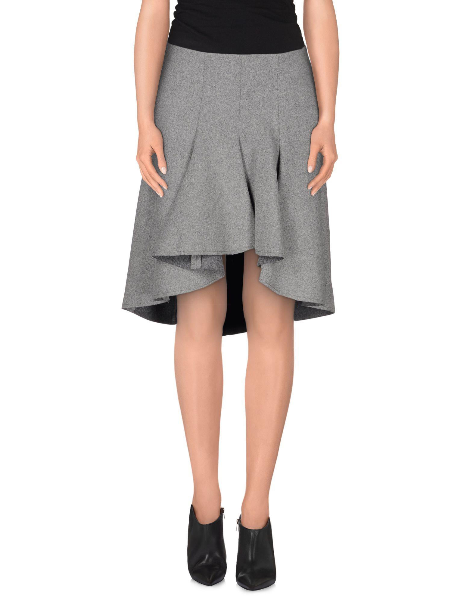dondup knee length skirt in gray grey lyst