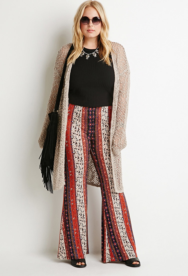 c0b68fc2257 Lyst - Forever 21 Plus Size Floral-stripe Flared Pants You ve Been ...