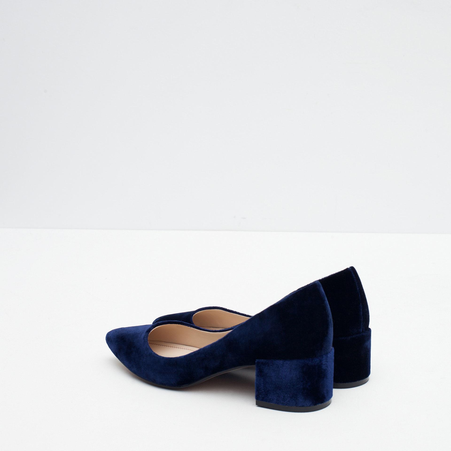 Blue Block Heel Shoes