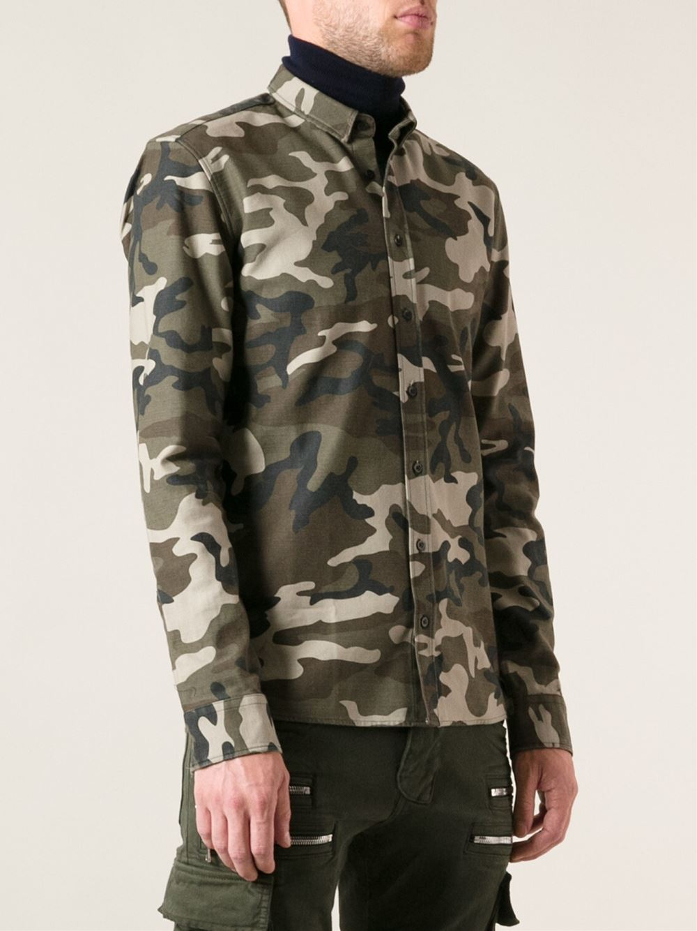 Balmain camouflage print shirt in green for men lyst for Green camo shirt outfit