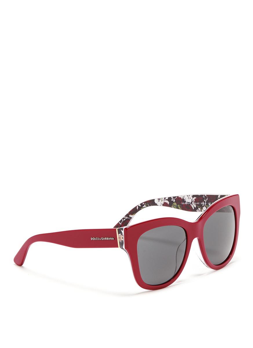 ee074618abb77 Red Rose amp  Interior Sunglasses Lyst Dolce Acetate In Print Gabbana  z5v5txq1