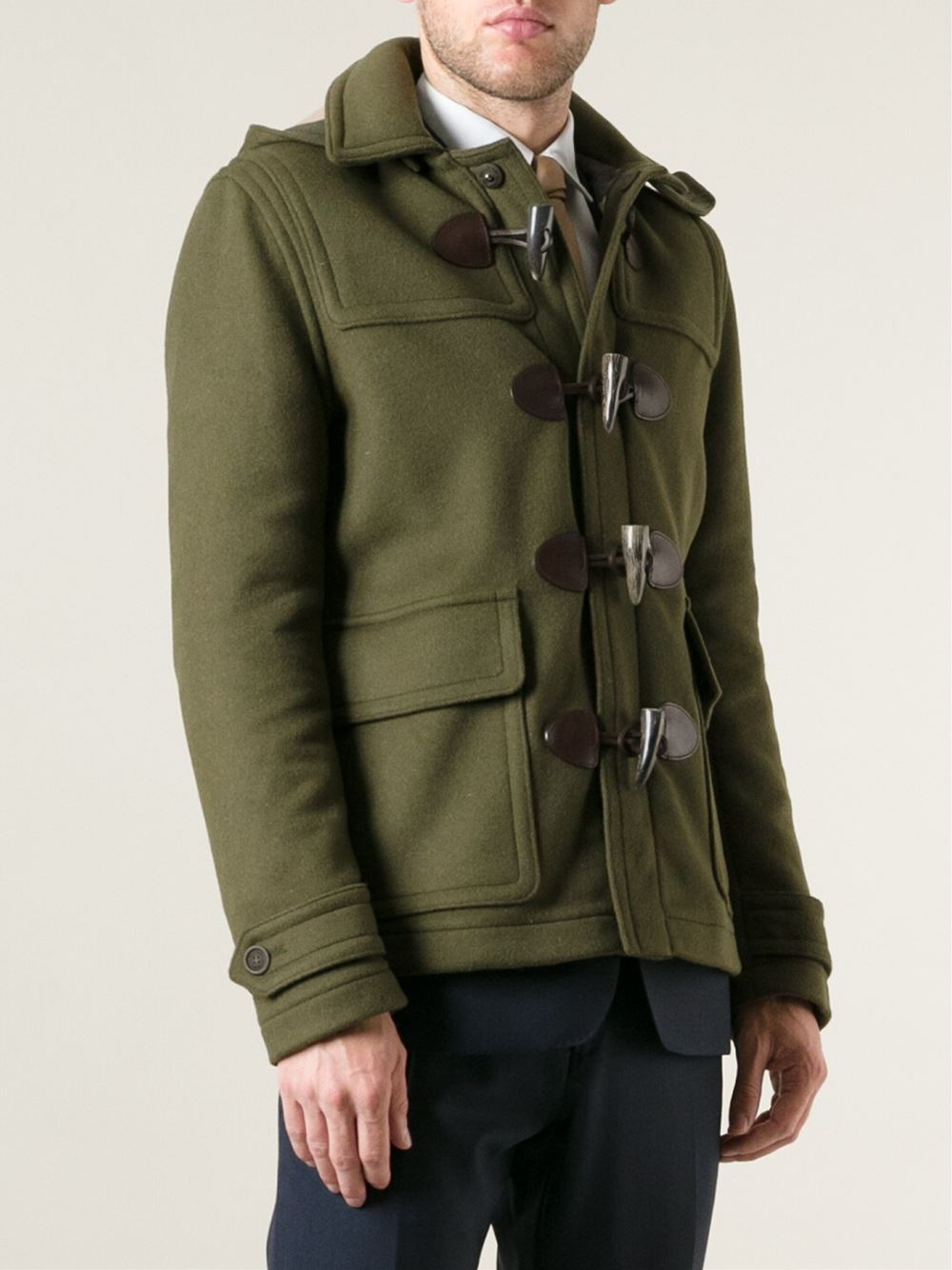 Burberry Short Duffle Coat in Green for Men | Lyst