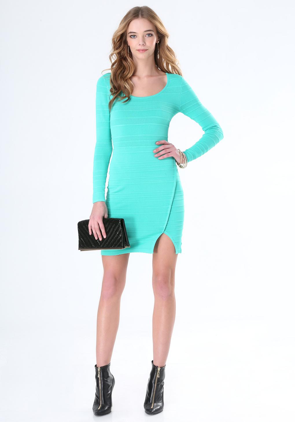 Lyst - Bebe Mesh Stripe Sweater Dress in Green
