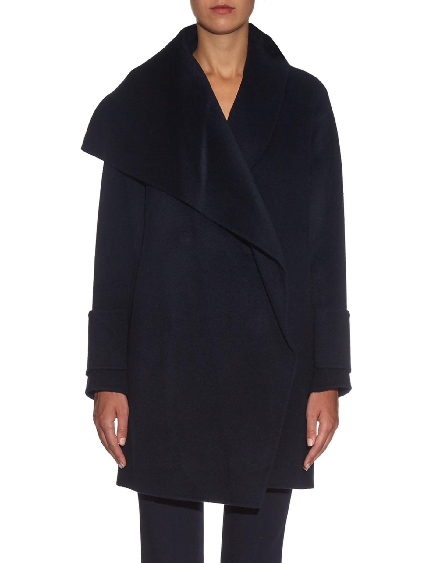 Lyst Vince Drape Front Wool Coat In Blue