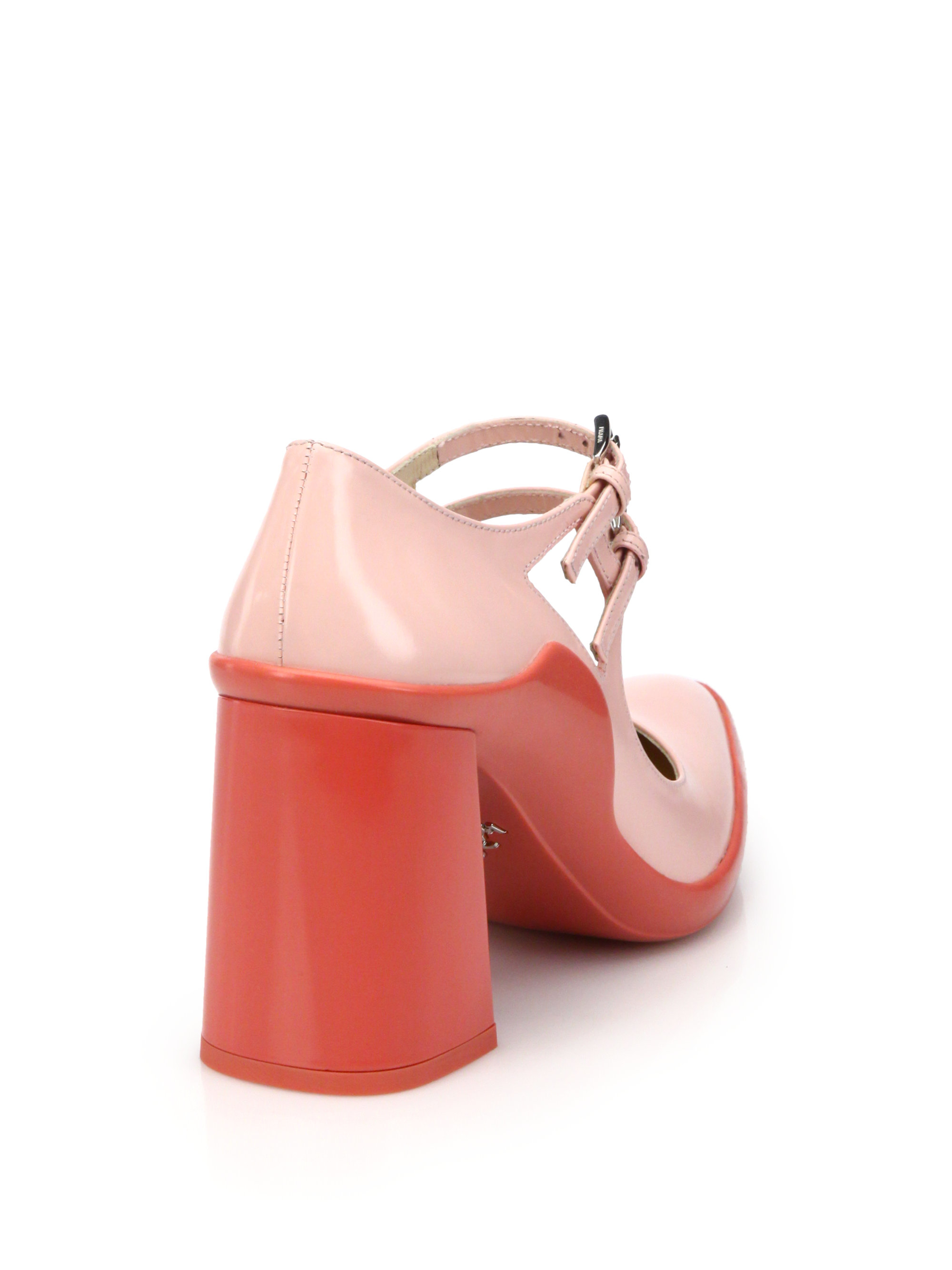 prada pouch price - Prada Two-tone Leather Mary Jane Pumps in Pink (pink-multi)   Lyst