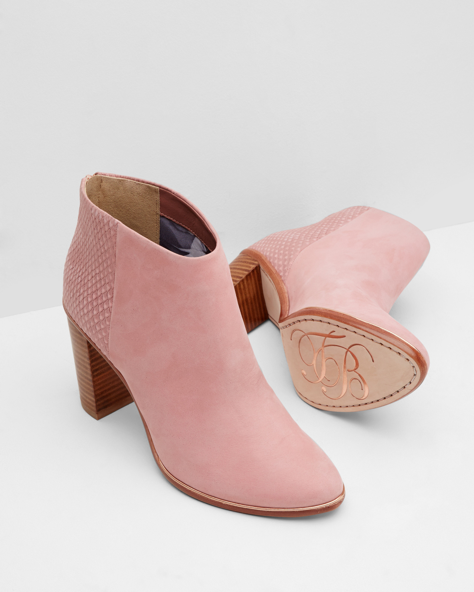 ted baker textured leather ankle boots in pink dusky pink