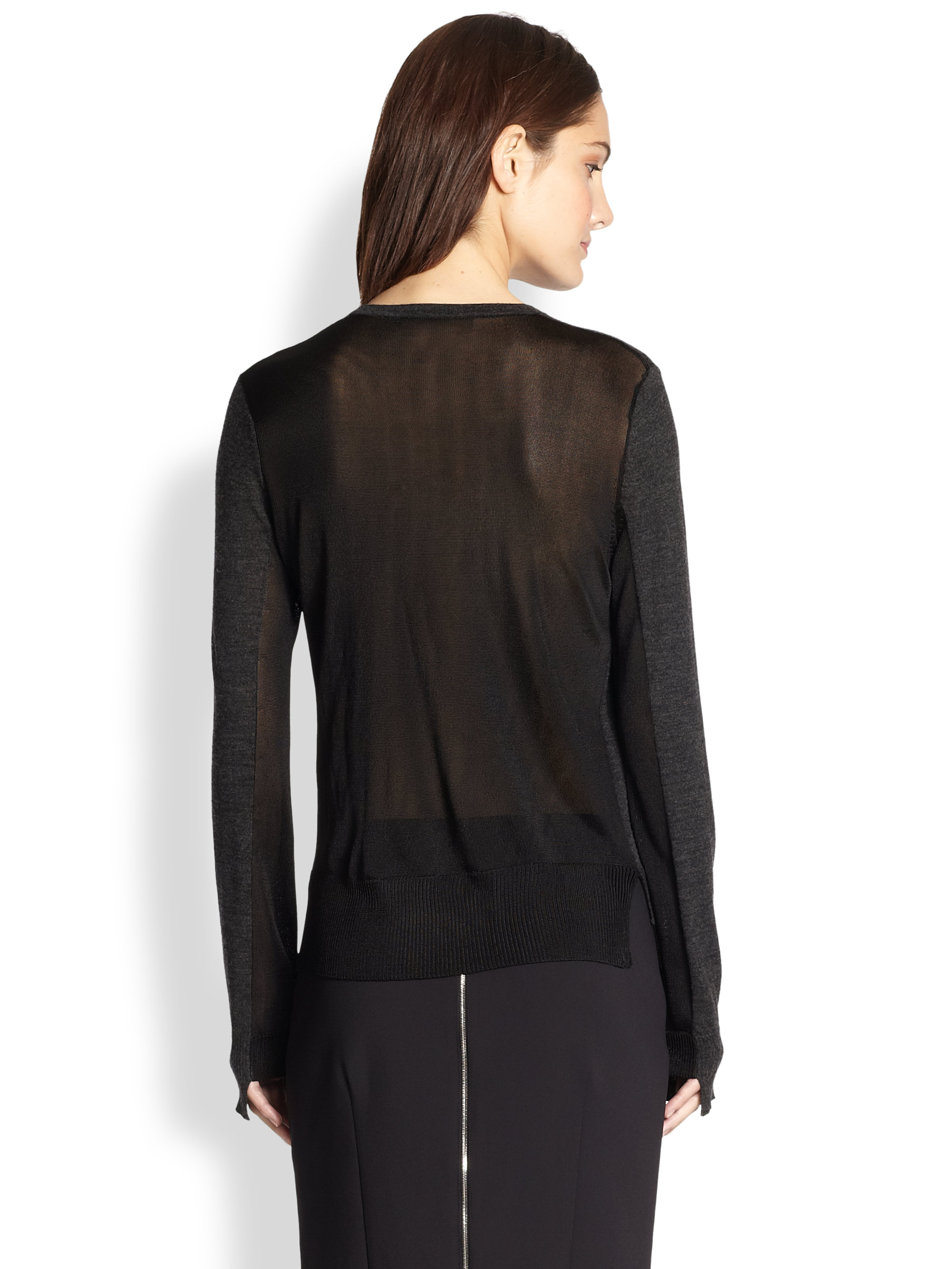 Wool Sweater Grey: Rag & Bone Nadine Sheer Fine Knit-paneled Wool