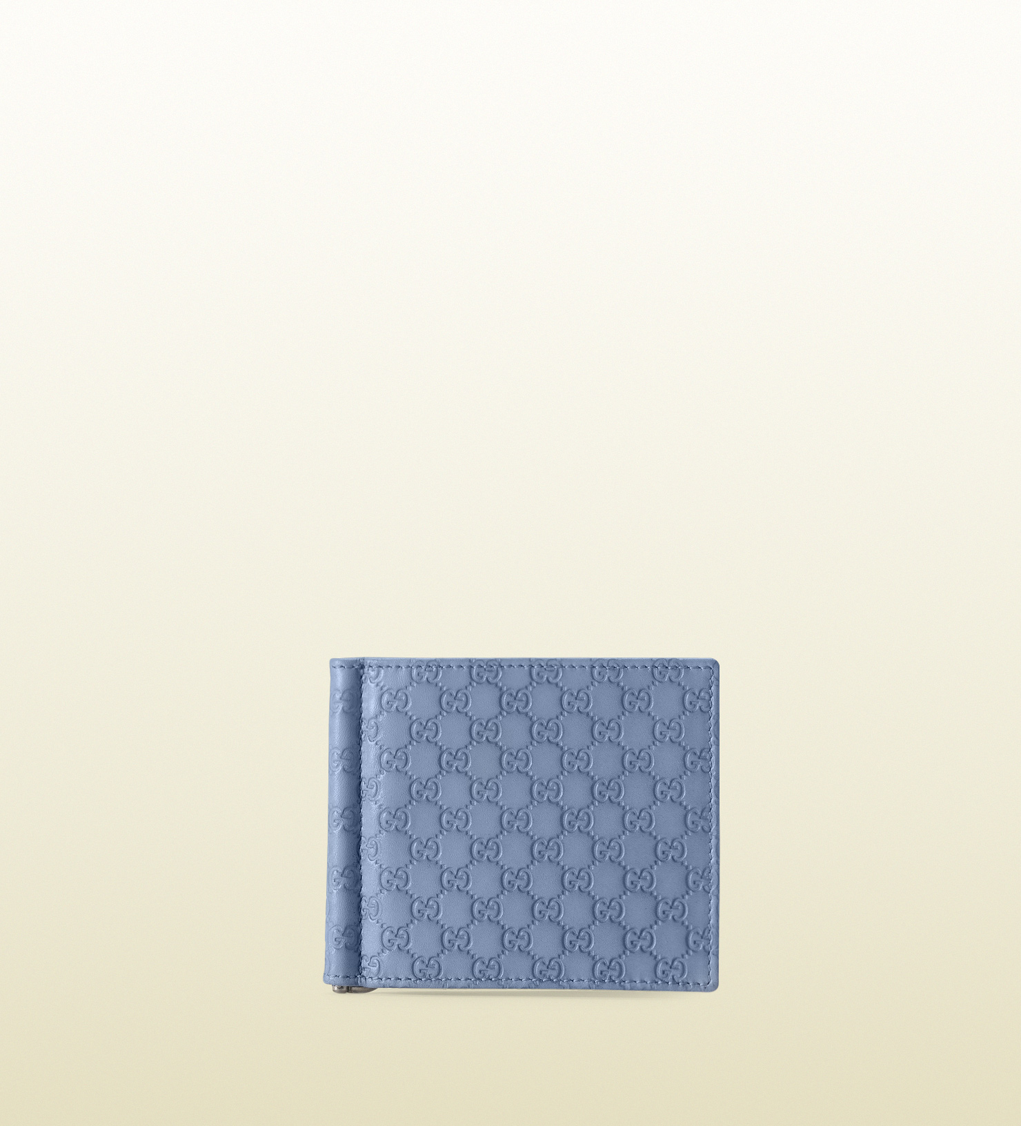 6cb2d5fd1220 Gucci Sky Blue Microguccissima Leather Money Clip Wallet in Black ...