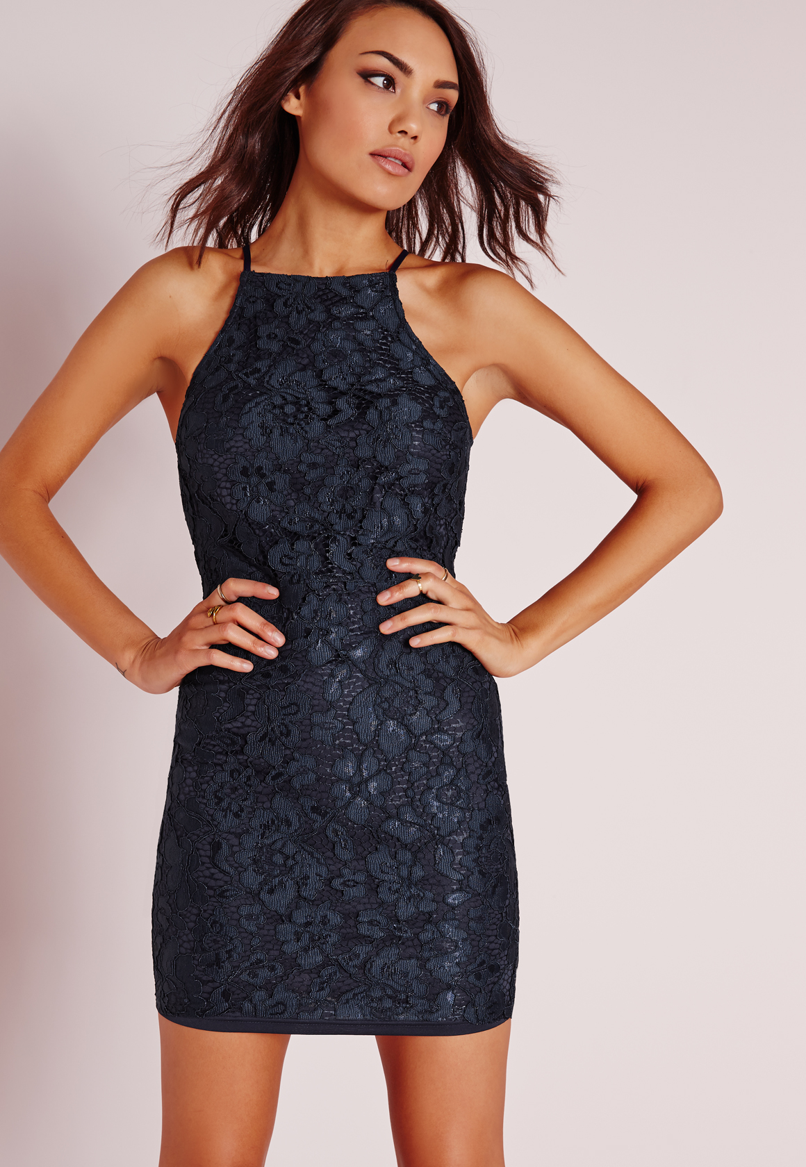 Missguided Lace Square Neck Bodycon Dress Navy in Blue | Lyst