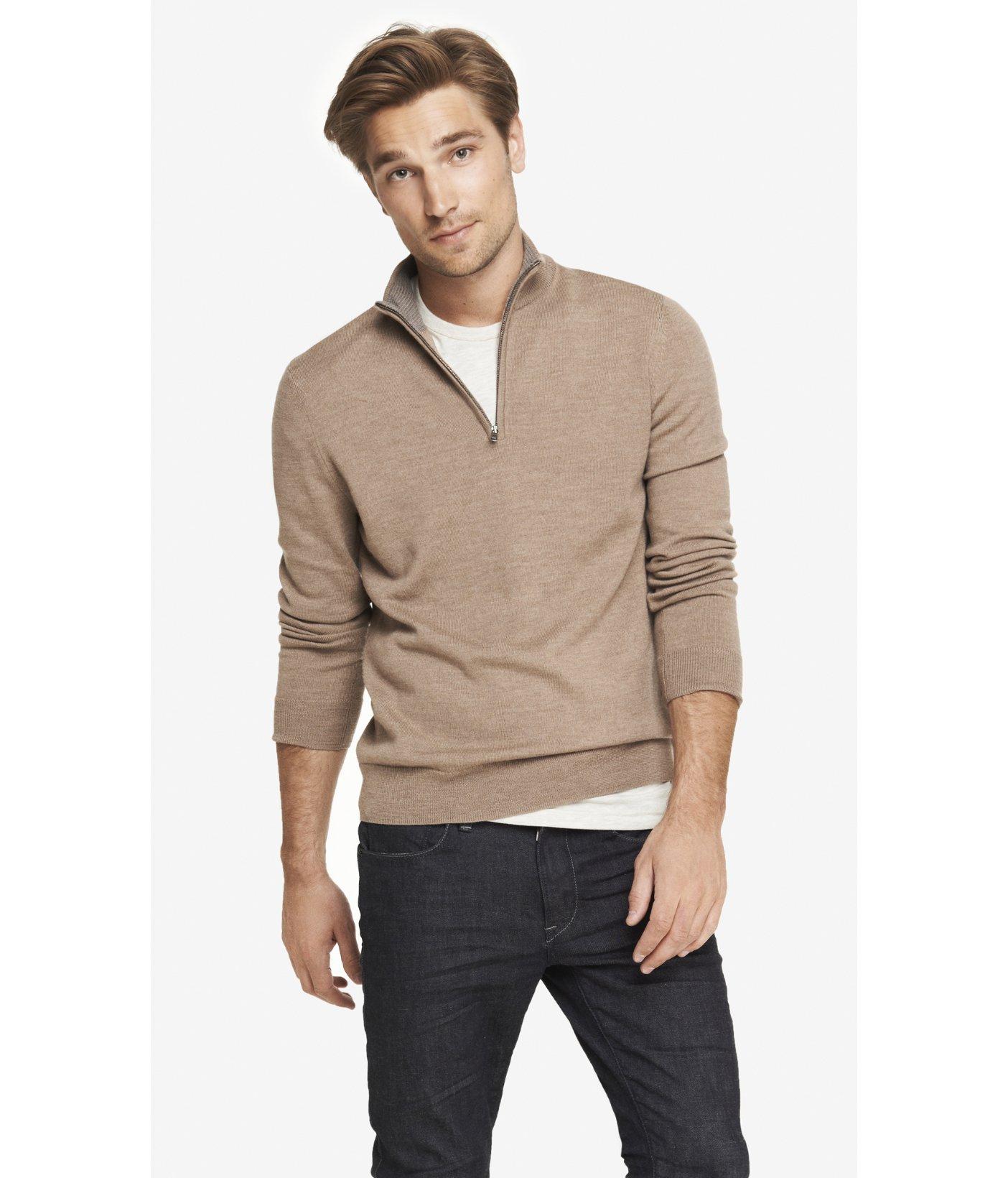 Merino Wool Zip Up Mock Neck Sweater 98