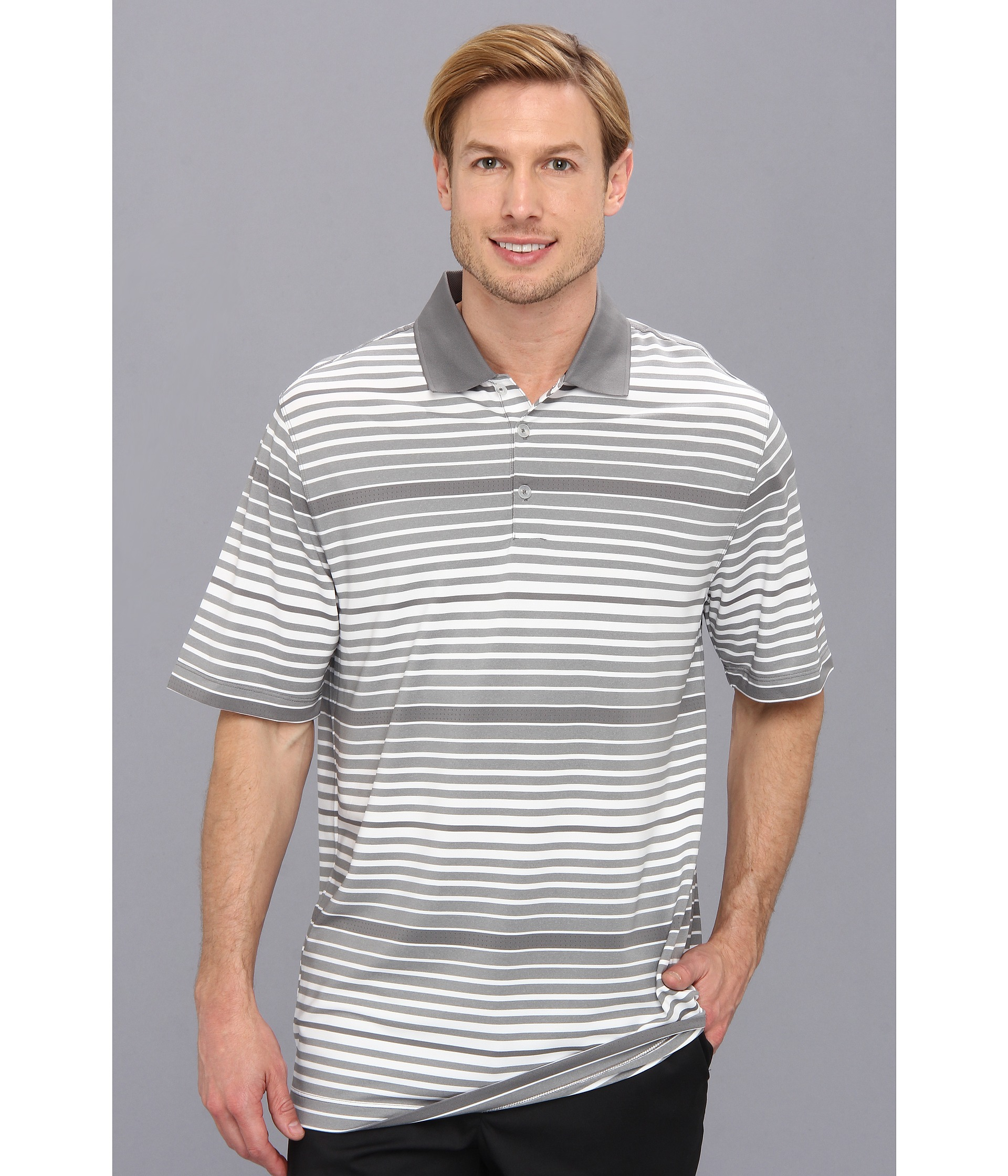 a14a5b3d Lyst - Nike Key Bold Heather Stripe Polo in Gray for Men