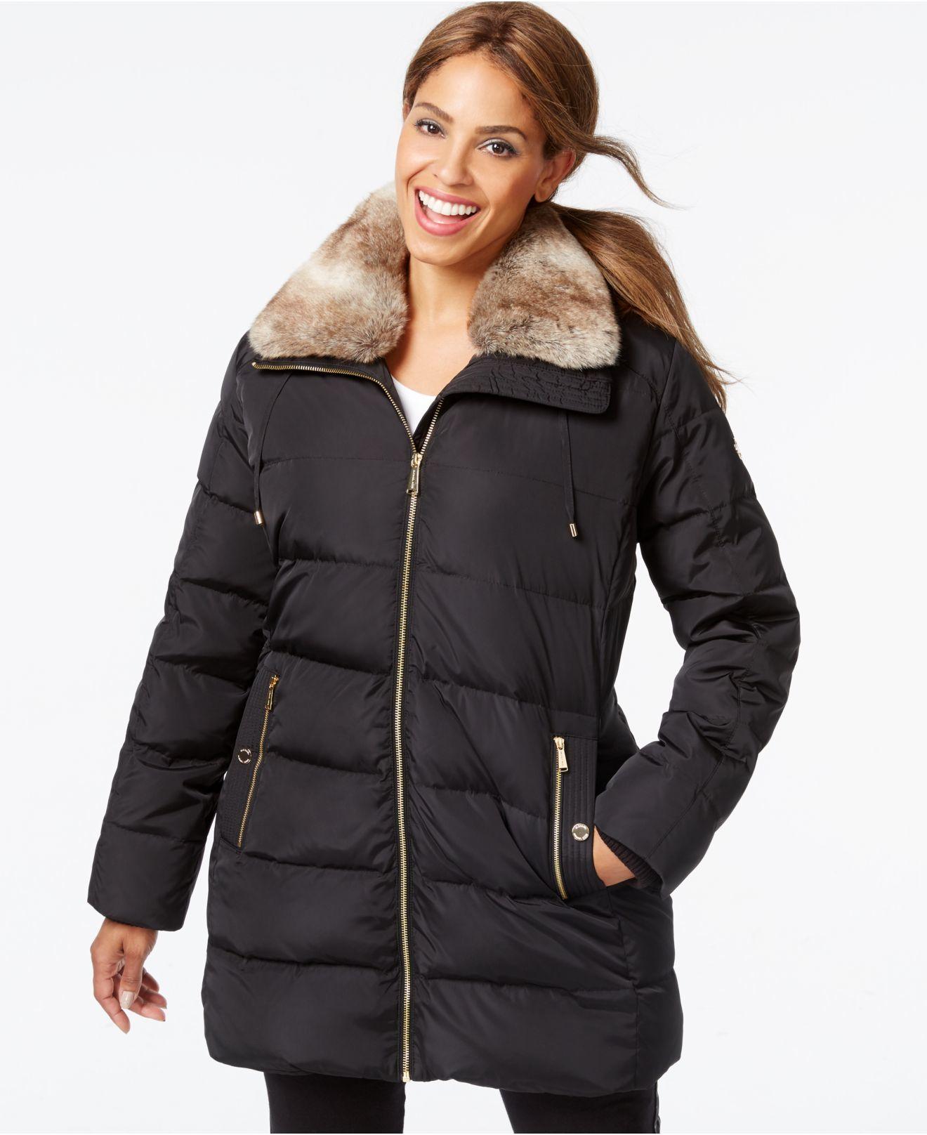 lyst michael kors michael plus size faux fur collar down coat in black. Black Bedroom Furniture Sets. Home Design Ideas