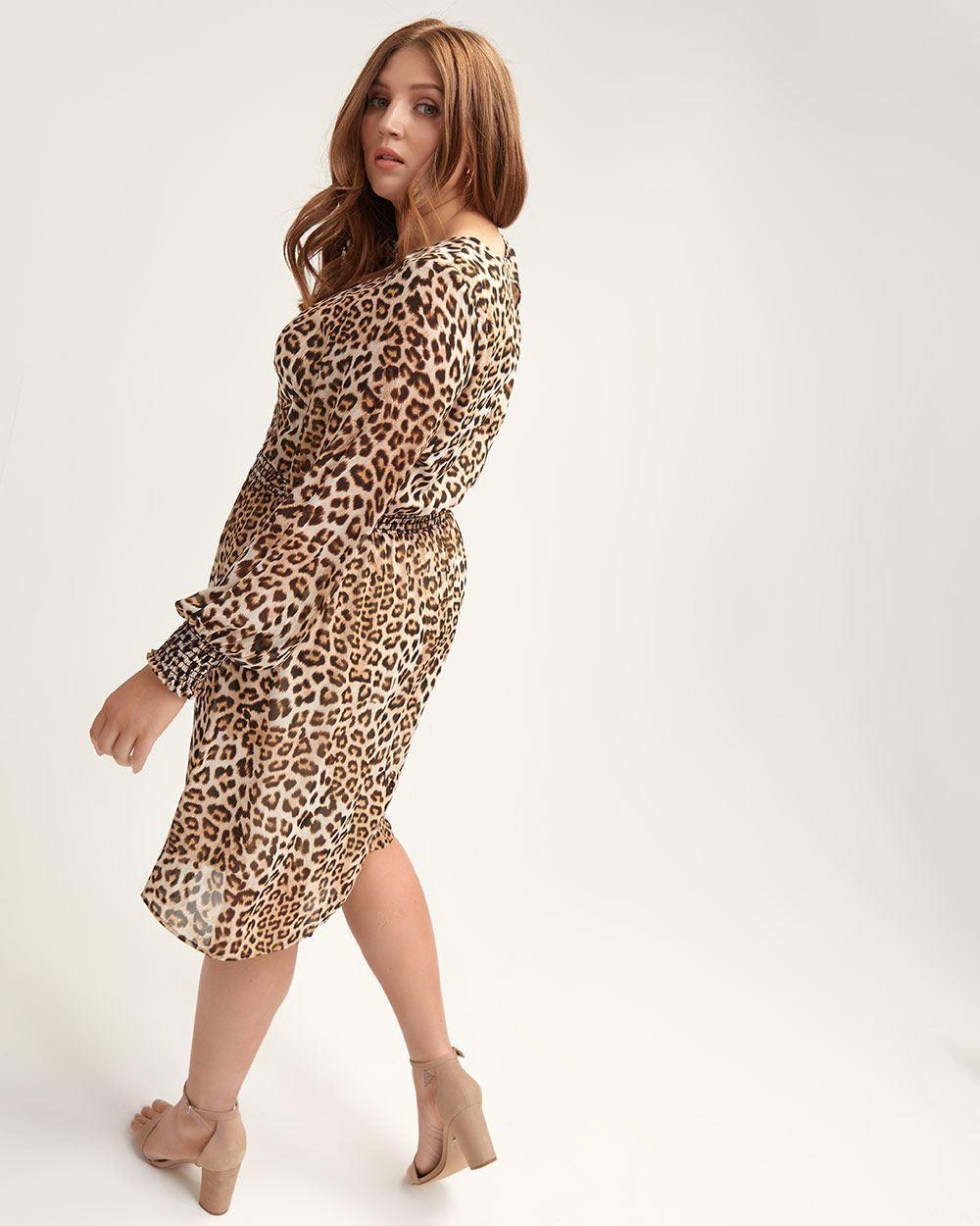 37da500059 Lyst - Addition Elle Leopard-print Dress With Smocking Details - L l in  Brown