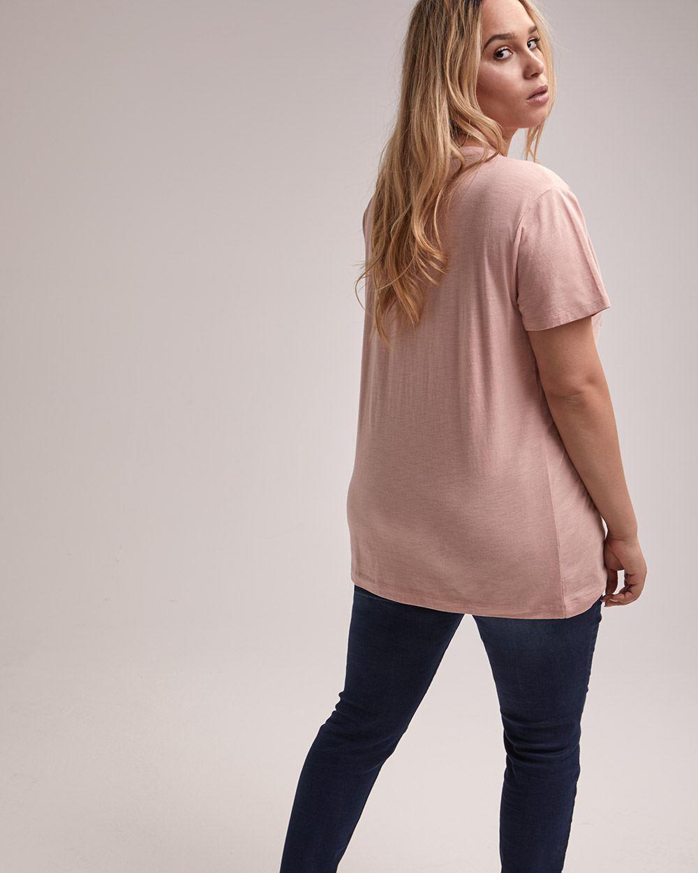 33e301fc Lyst - Addition Elle L&l Front Print Boyfriend Tee in Pink