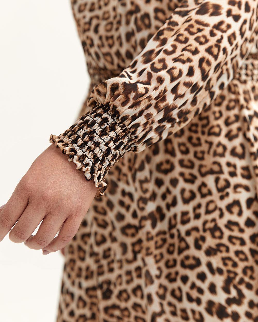 43c7395c63 ... Leopard-print Dress With Smocking Details - L l - Lyst. View fullscreen