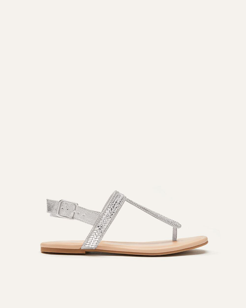 1efebcf244d7e Lyst - Addition Elle Wide Ankle Buckle Thong Sandals in Metallic