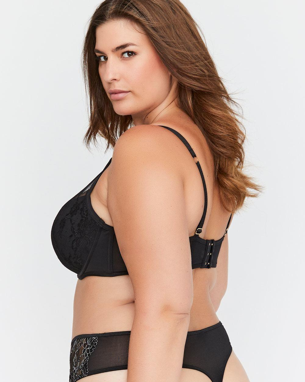 4499aef5a4 Lyst - Addition Elle Micro Jersey Demi Cup Diva Bra With Lace - Ashley  Graham in Black