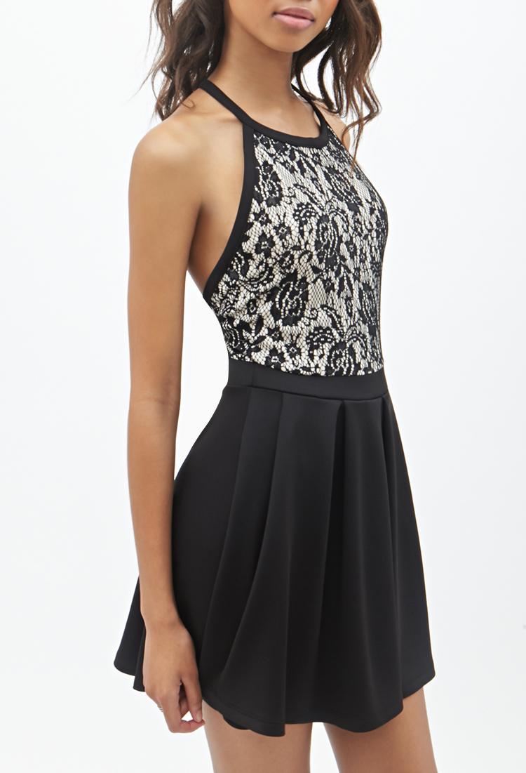 Forever 21 Lace T Back Halter Dress In Black Black Nude