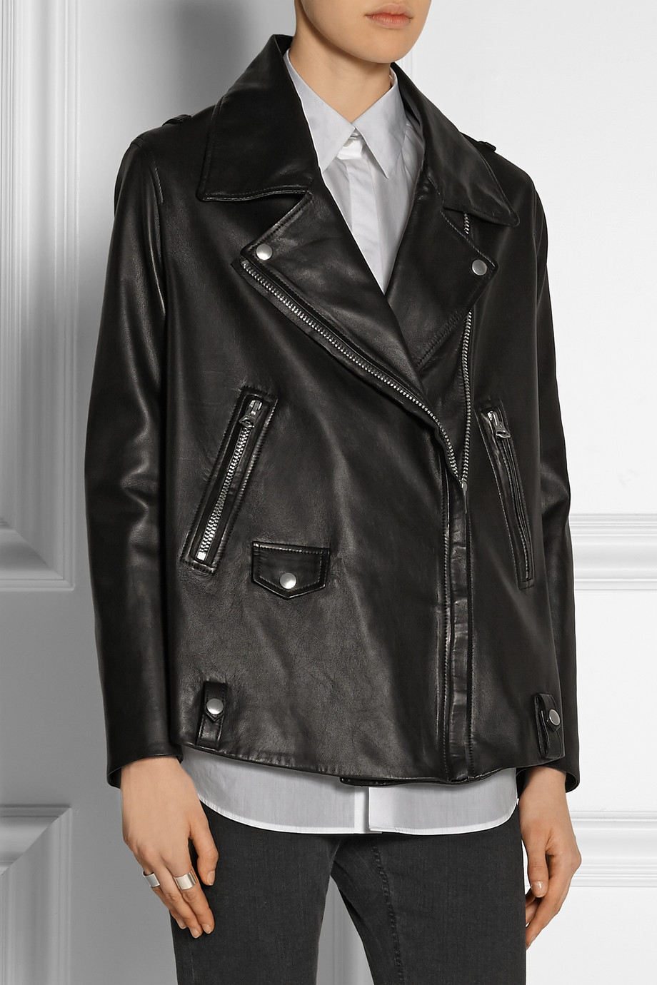 Light leather motorcycle jacket