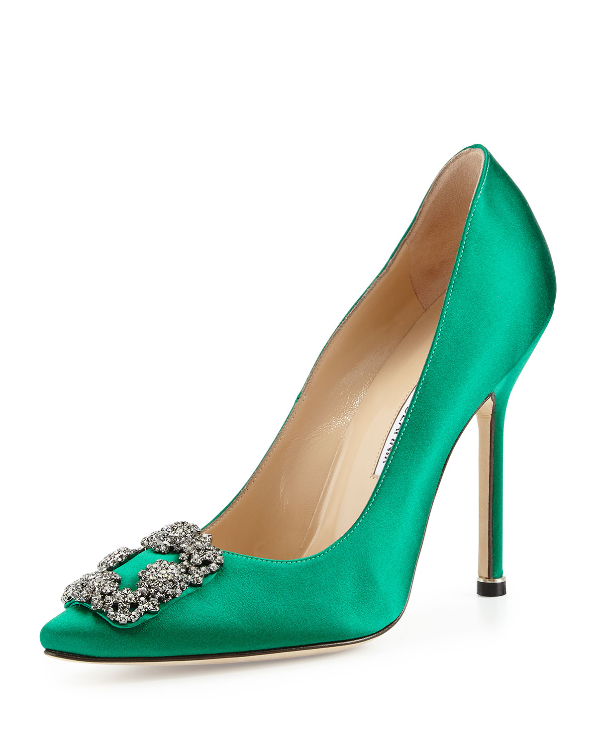 Lyst manolo blahnik hangisi crystal buckle satin pump in for Who is manolo blahnik