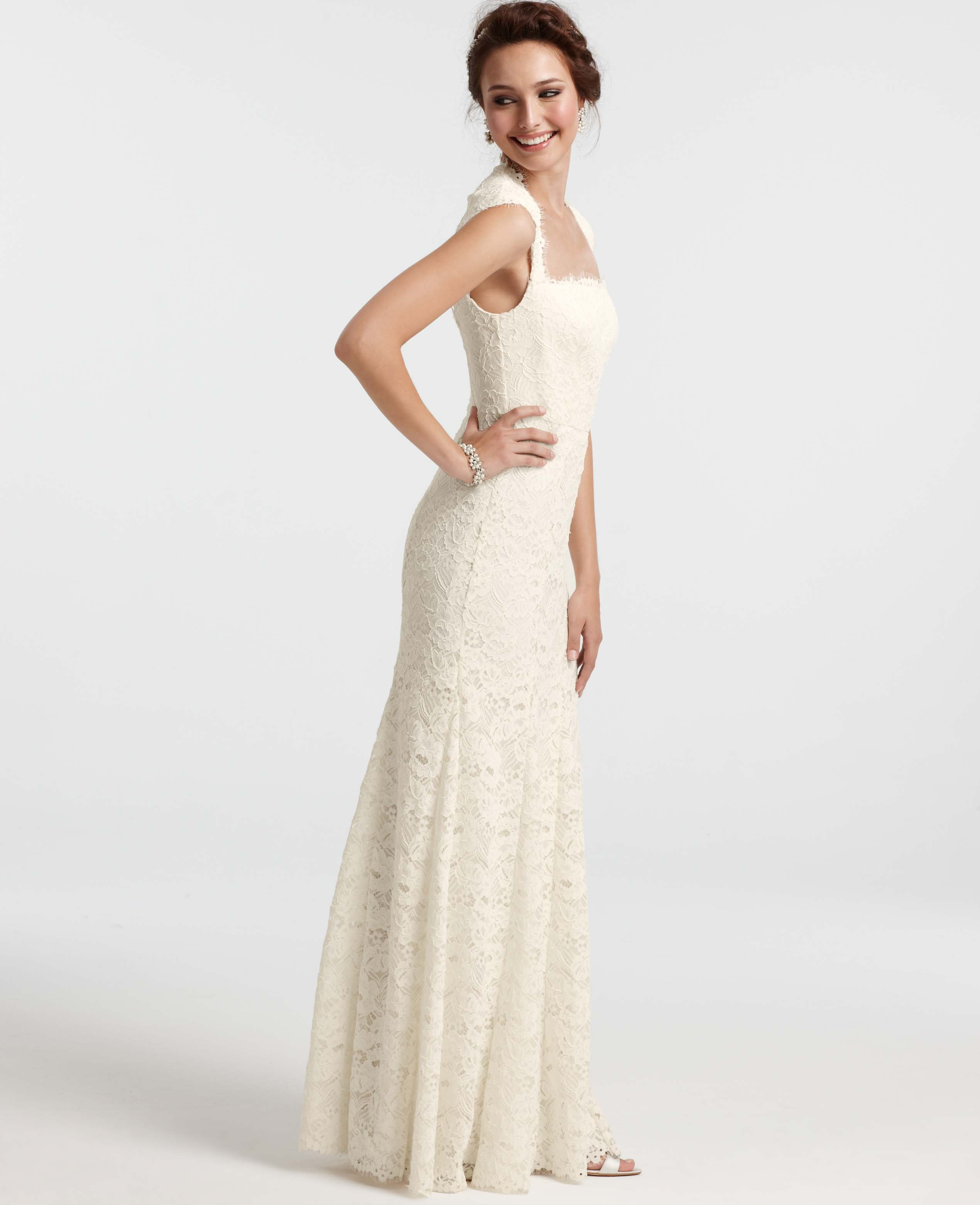 Lyst ann taylor isabella lace wedding dress in white junglespirit Images