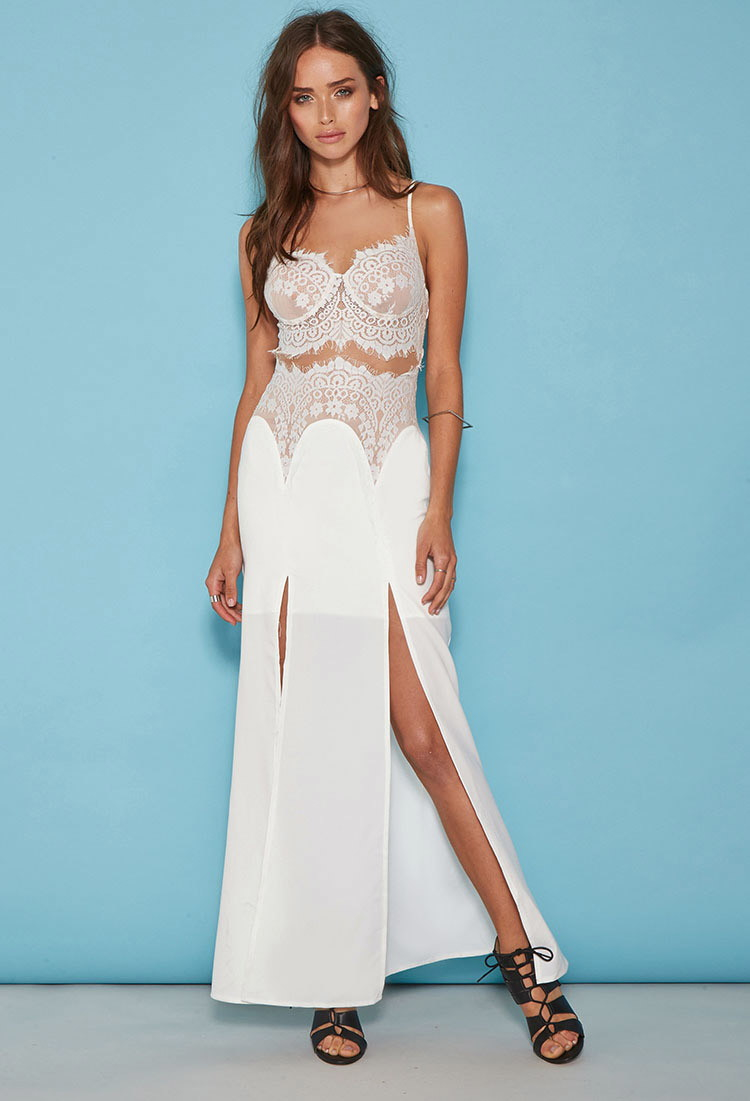 Forever 21 Tiger Mist Eyelash Lace Maxi Dress in White | Lyst