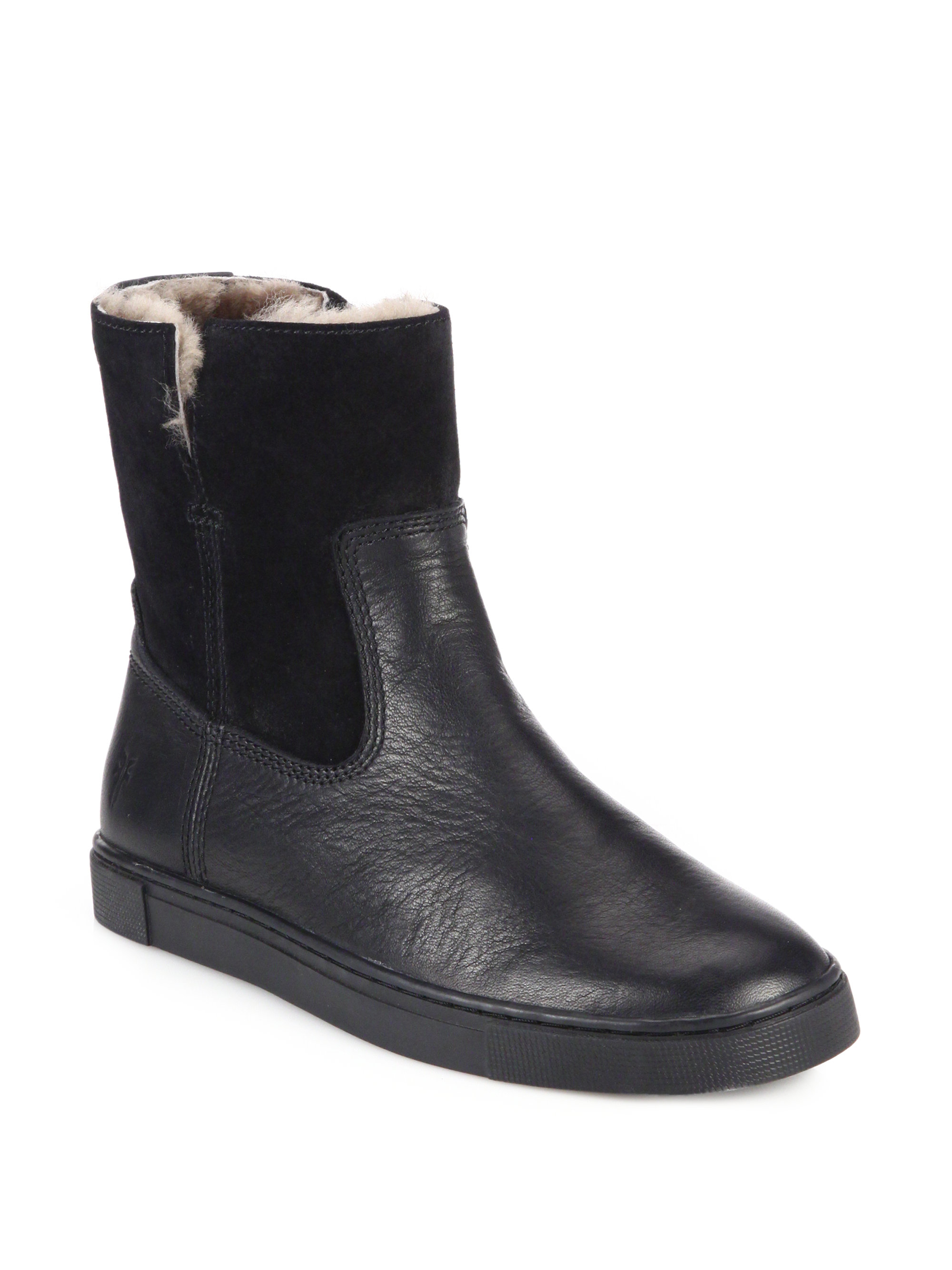Frye Gemma Shearling Lined Leather Amp Suede Ankle Boots In