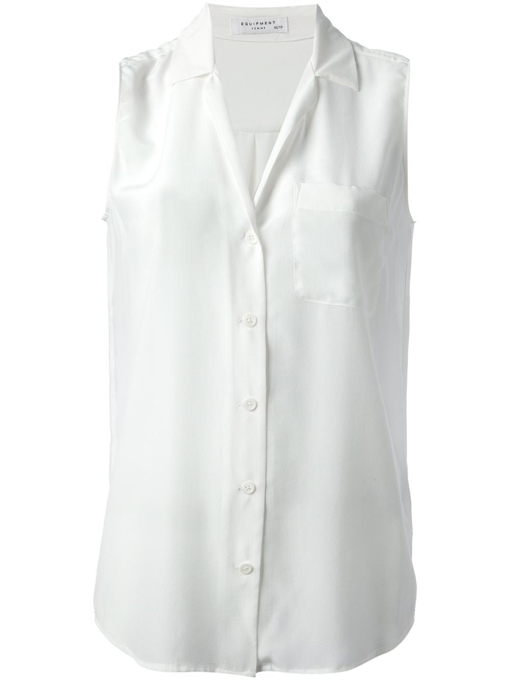 Equipment Sleeveless Shirt in White | Lyst