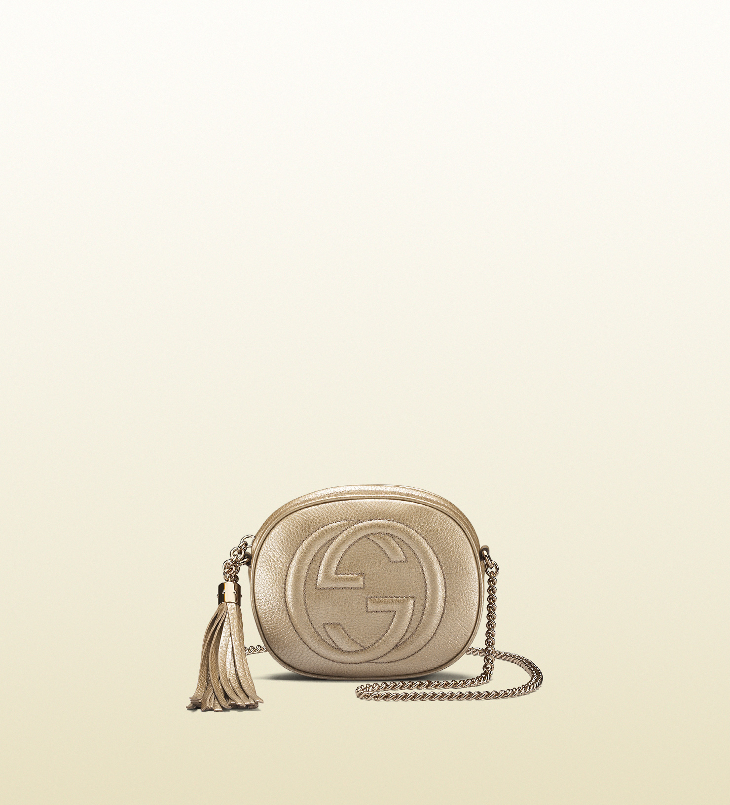 e541d785c003 Lyst - Gucci Soho Metallic Leather Mini Chain Bag in Natural