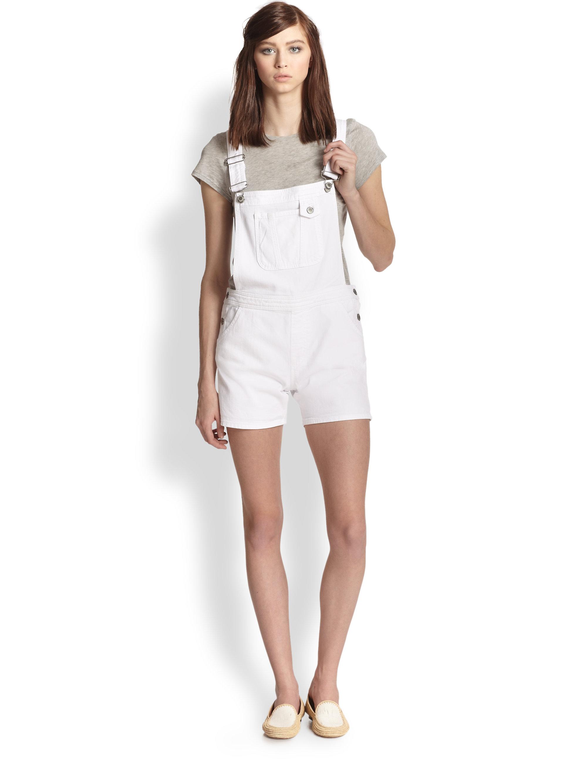M I H Jeans Short Denim Overalls In White Lyst