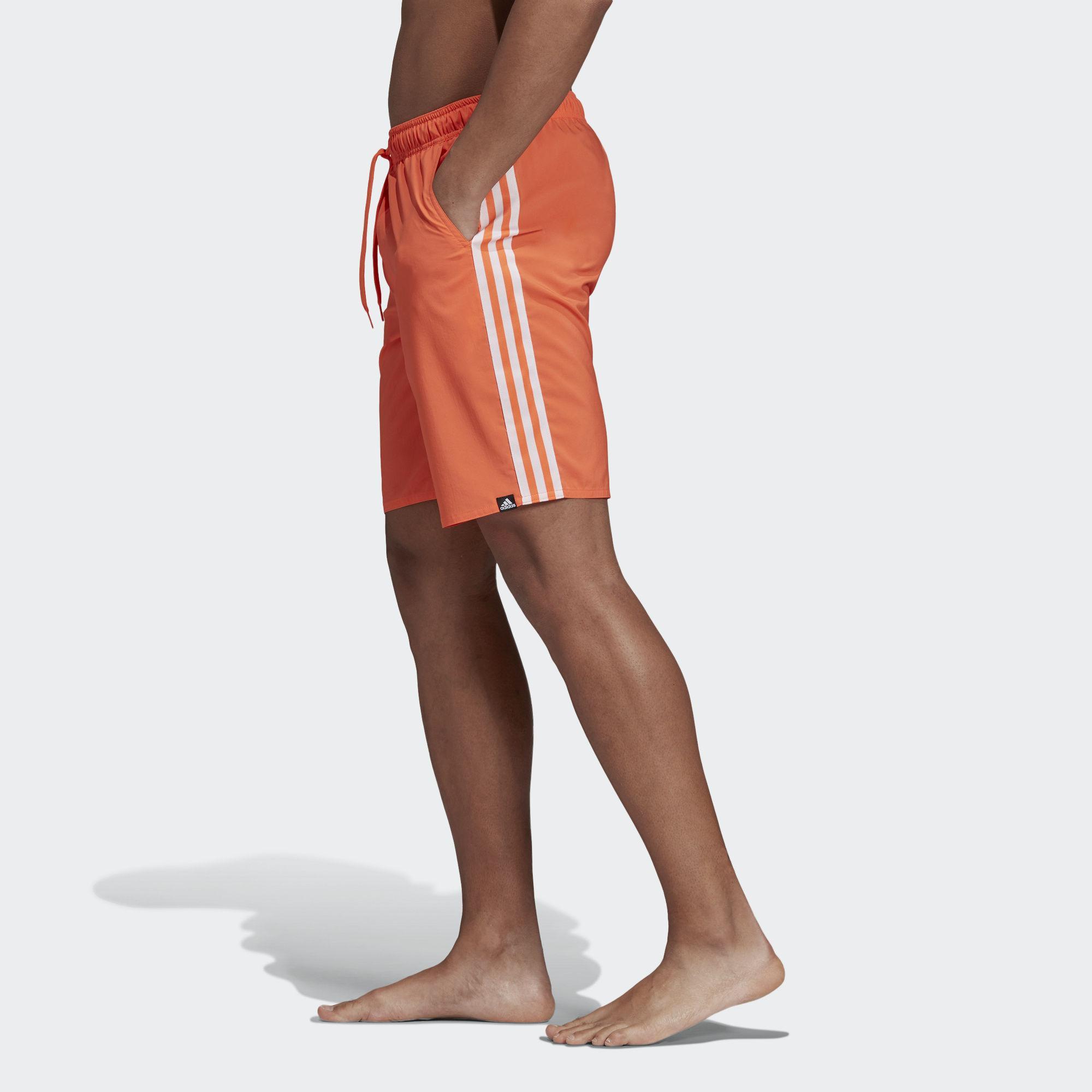 2ff946ab3a Adidas - Orange 3-stripes Swim Shorts for Men - Lyst. View fullscreen