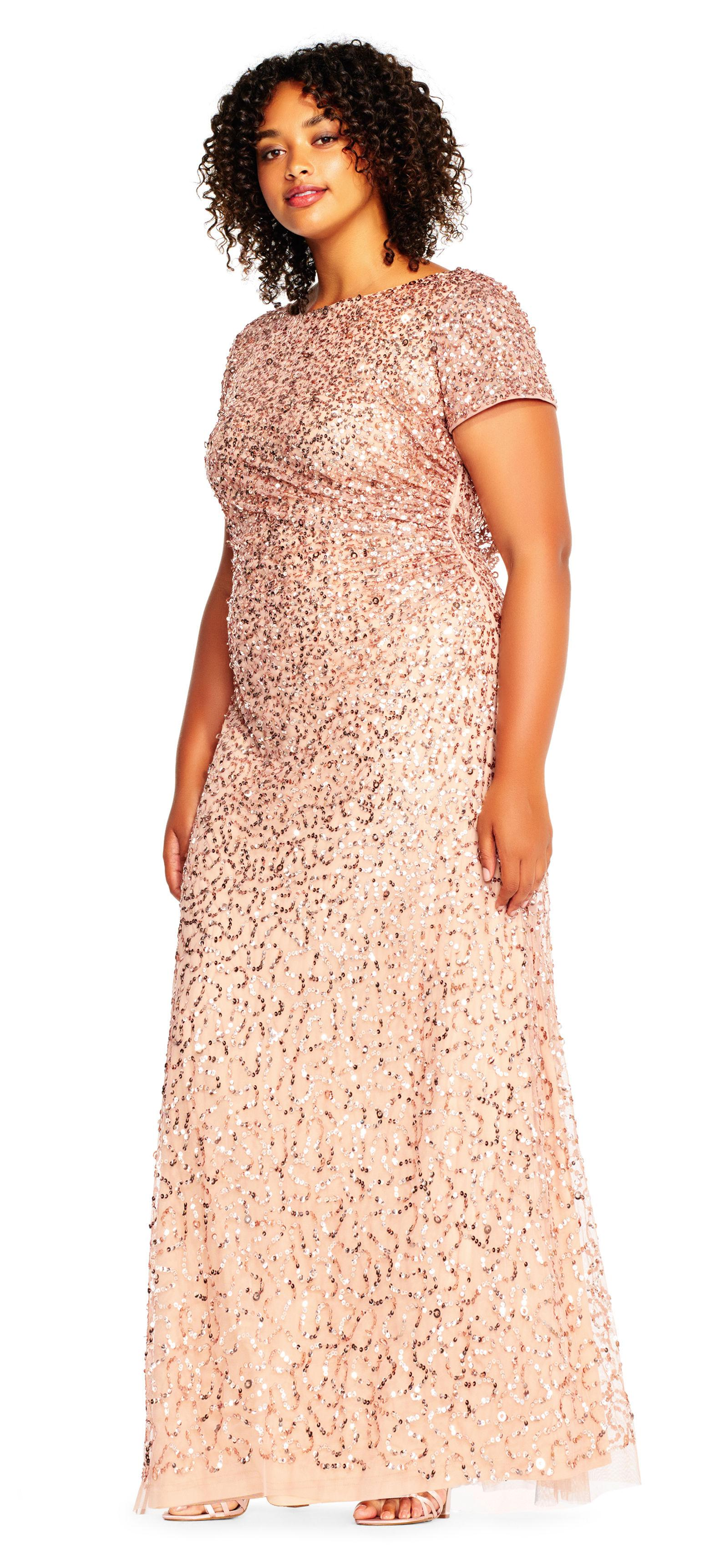 Lyst - Adrianna Papell Short Sleeve Sequin Beaded Gown With Cowl ...