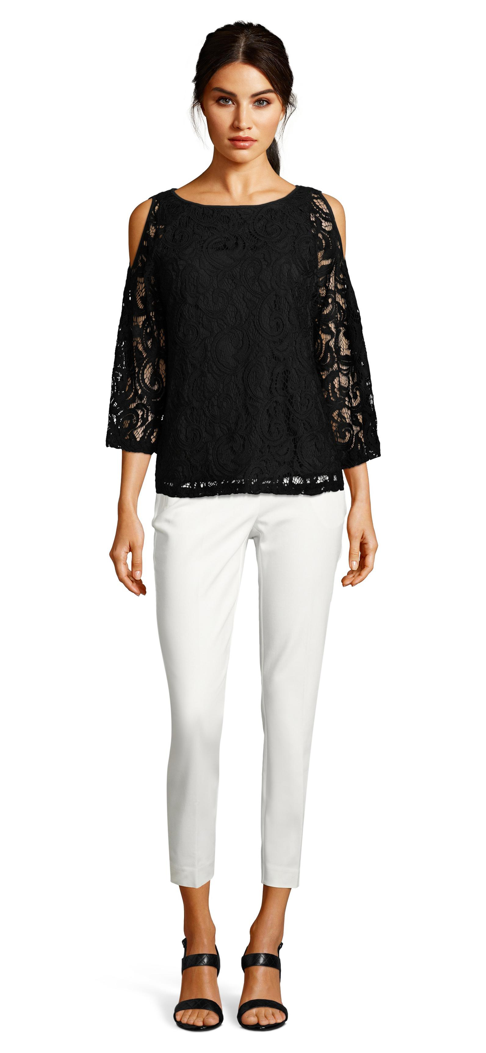 acdb1bdf3fabb8 Lyst - Adrianna Papell Lace Top With Sheer Long Cold Shoulder ...