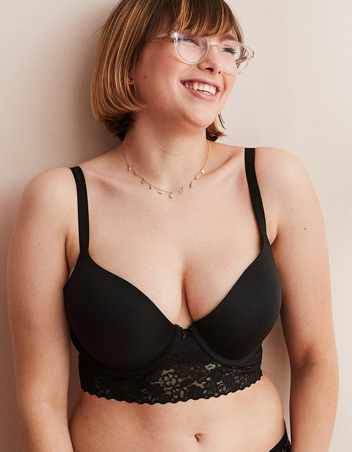 485f99bbec Lyst - American Eagle Real Happy Demi Push Up Bra in Black - Save 6%